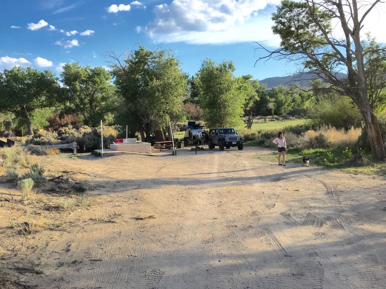 Our campsite in Benton Hot Springs