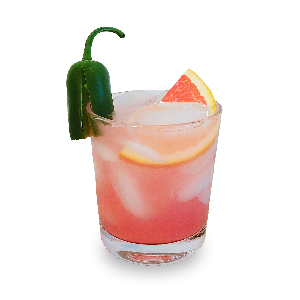 SPICY WATERMELON MARGARITA - 2 oz Tres Papalote Mezcal.15 oz Triple Sec.5 oz fresh Lime Juice.5 oz Simple Syrup.25 cup Muddled Watermelondash of Kosher Salt and Cayenne2 slices Jalapeno