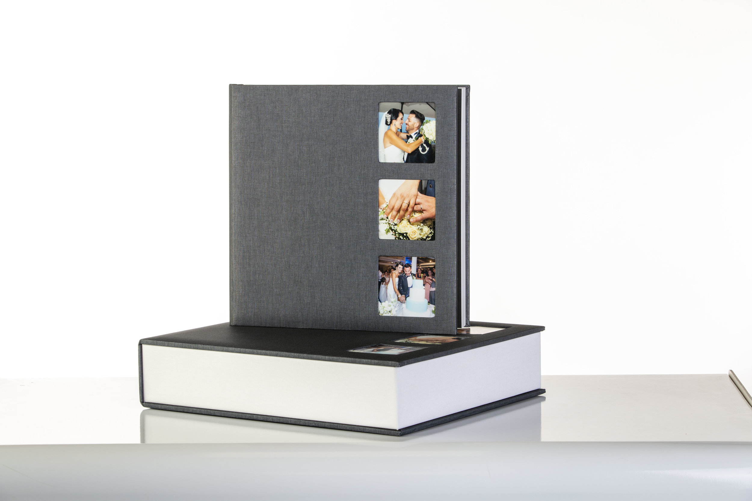 A 12x12 wedding book completed with a USB stick and personalised box, various cover options.