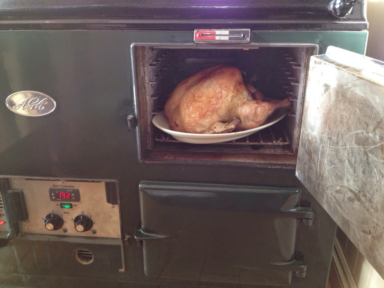 The AGA delivered exceptional results. Our turkey cooked through perfectly without drying out. We also cooked a beautiful nut roast in the bottom oven along with the scrumptious pigs in blankets below.