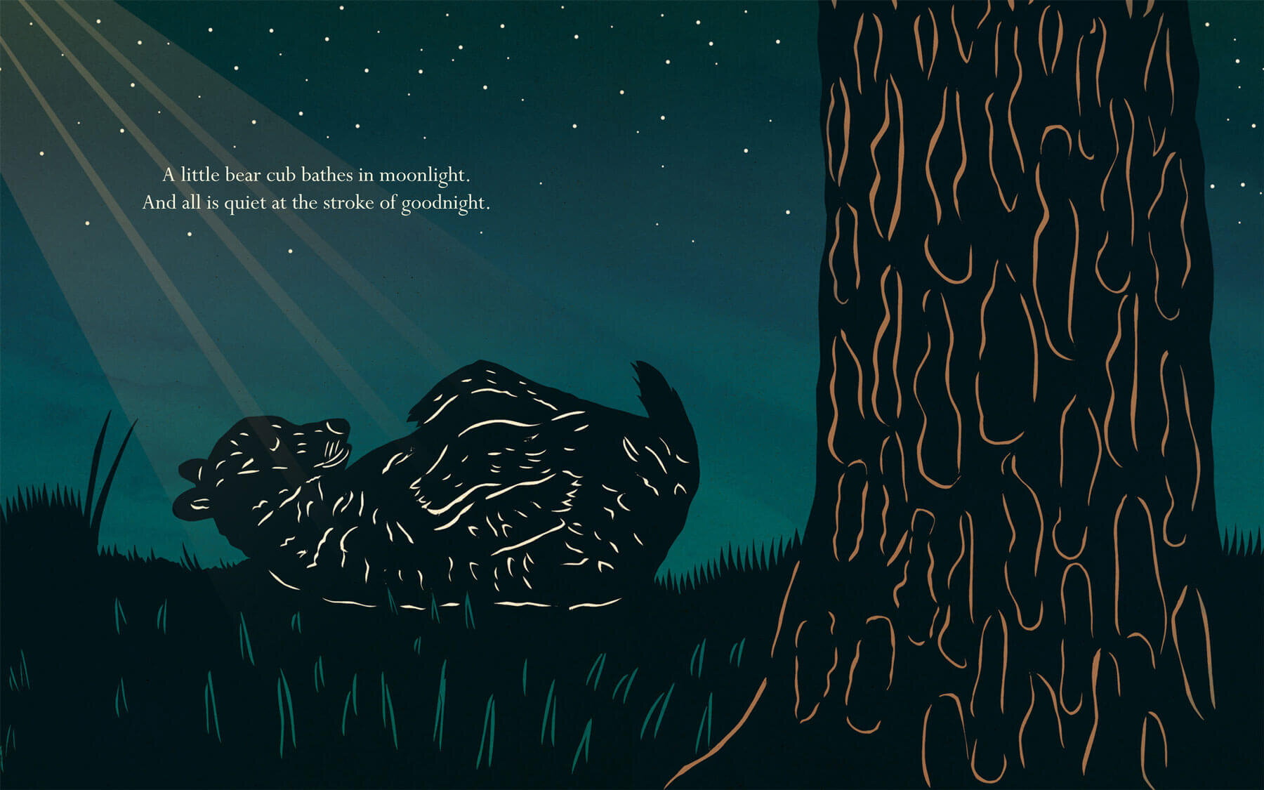 Silhouette of a bear club sleeping under a starry sky created by silhouette artist Clay Rice