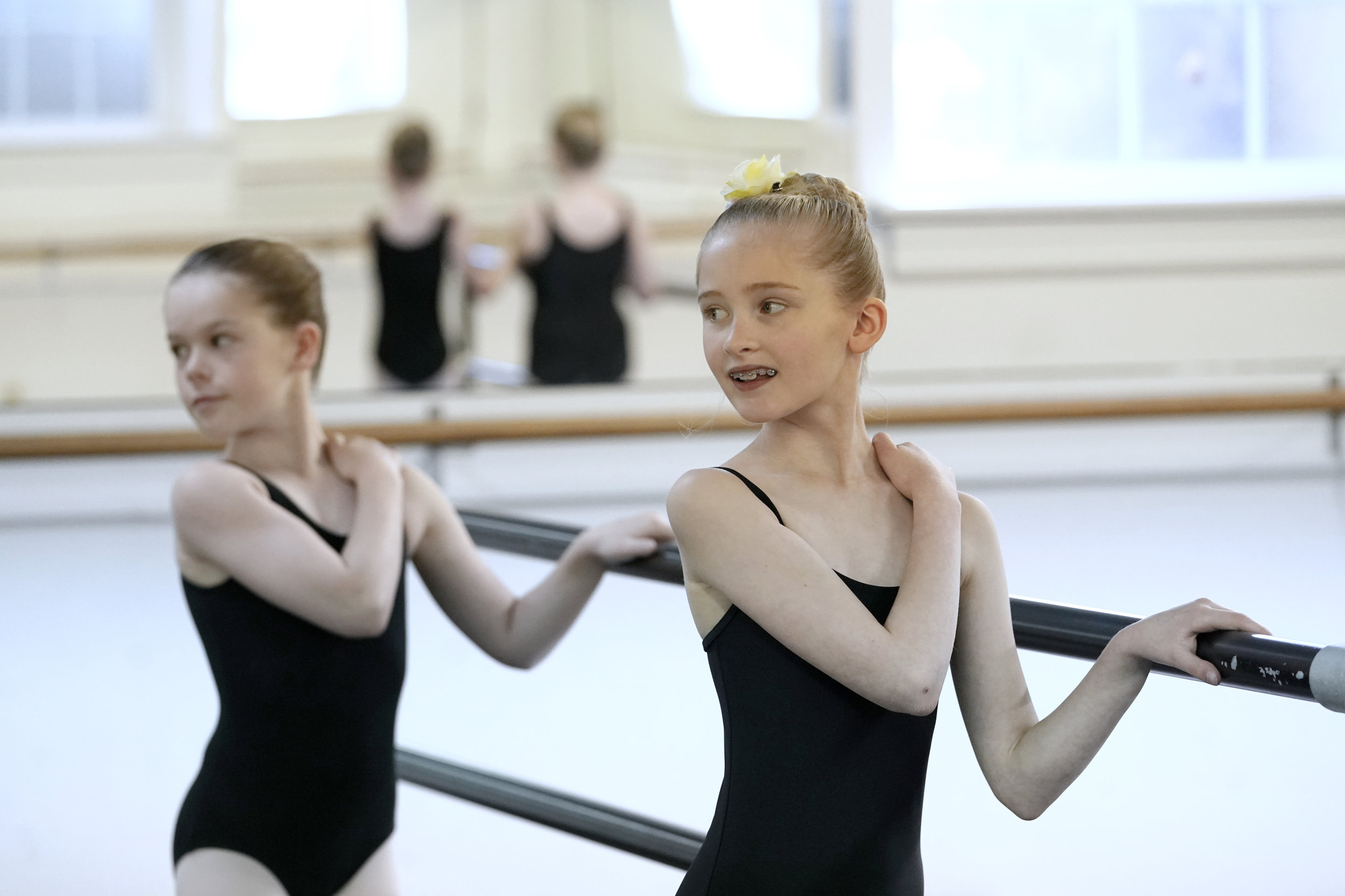 First year dancers at the barre