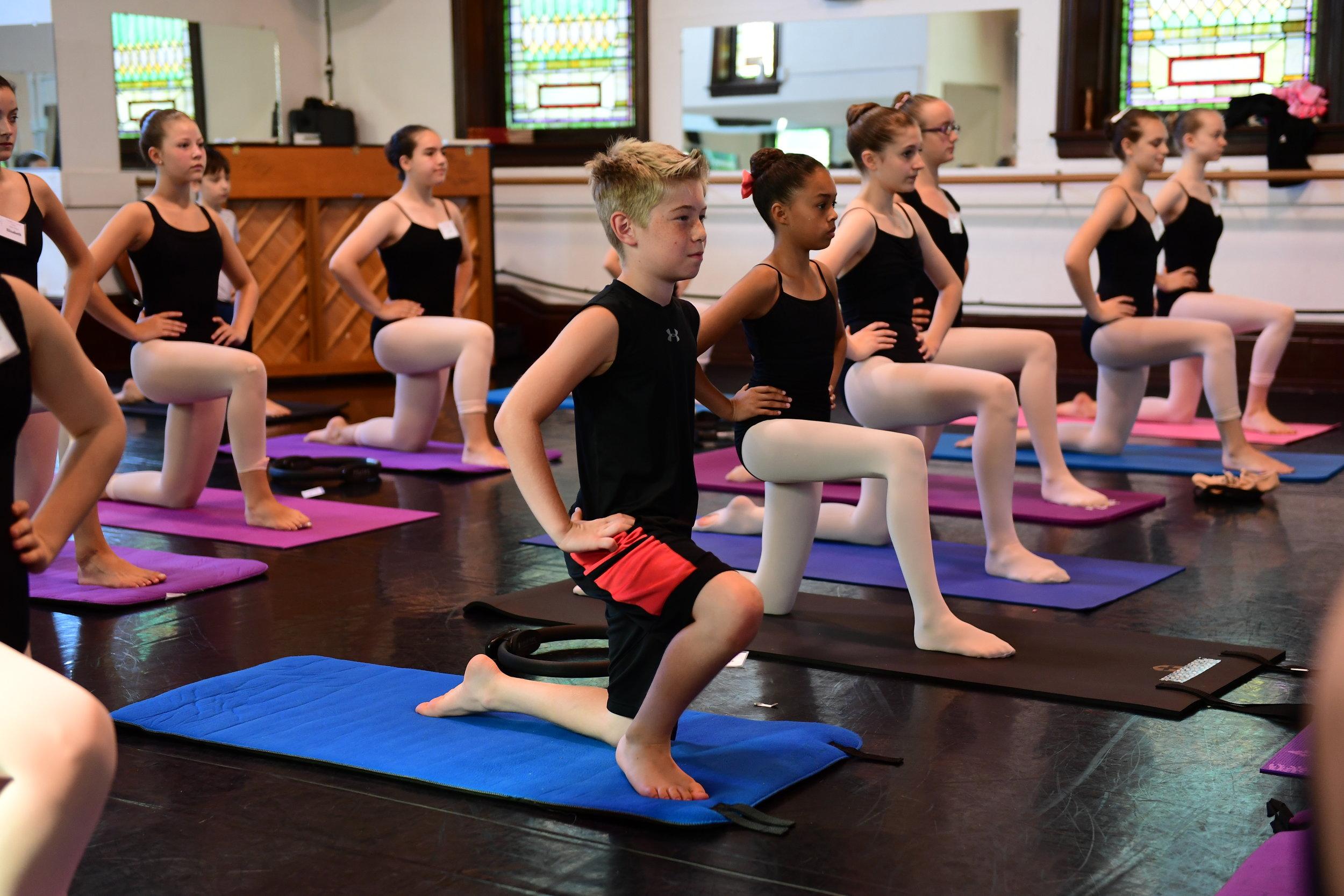 Ballet Summer Intensive students taking pilates