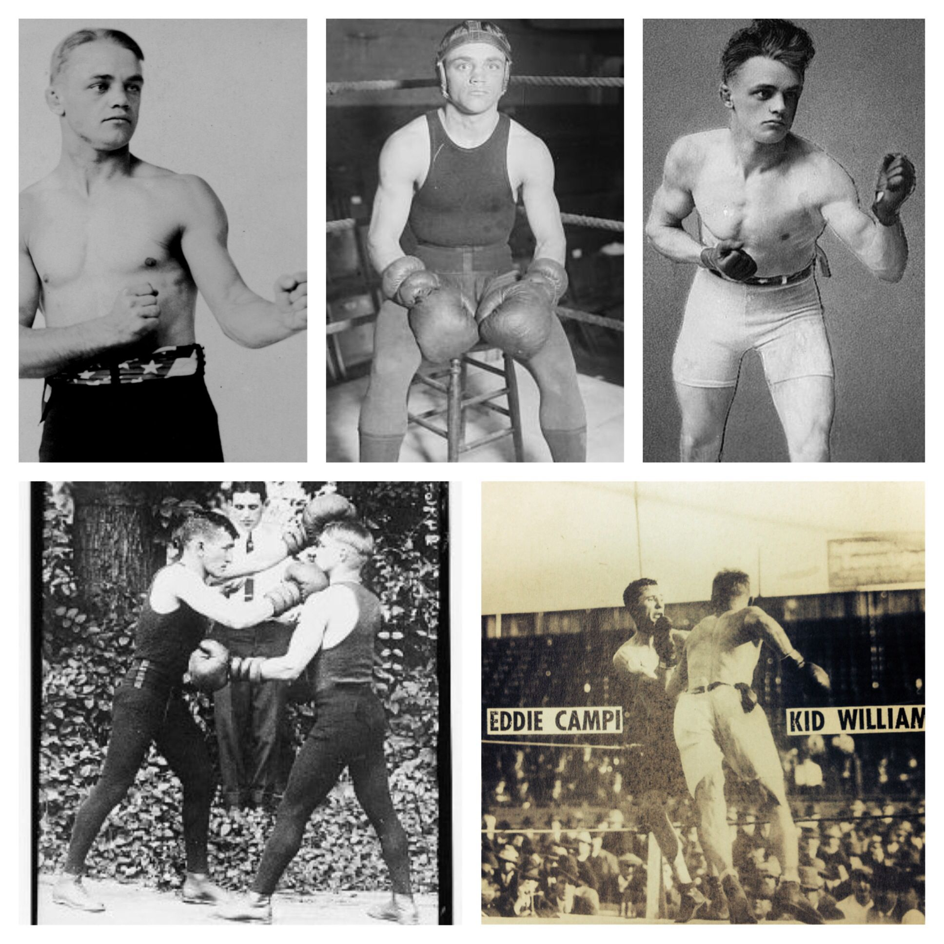 Top Row L-R: Three fearsome fighting poses of Kid Williams  Bottom Row L-R: Williams spars, and Williams with one of his signature rushes at his great rival Eddie Campi