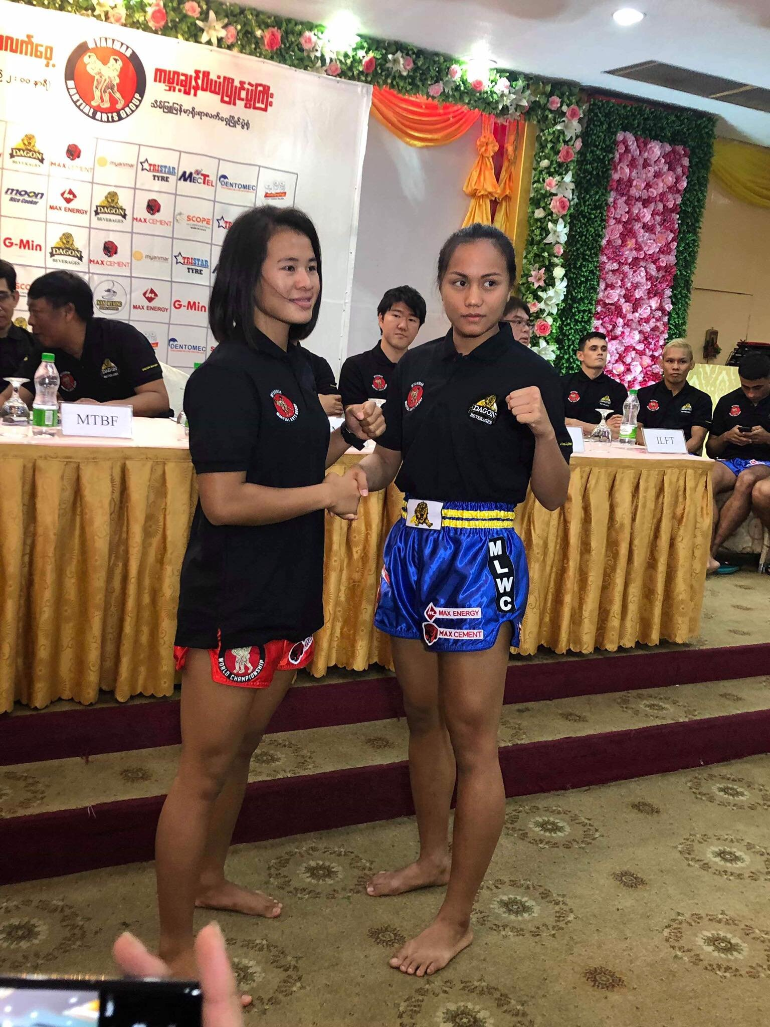 Veronika and Sawsing Sor.Sopit at a press conference prior to the 4th Myanmar Lethwei World Championship on August 18th. Photo courtesy of  Myanmar Lethwei Collection .