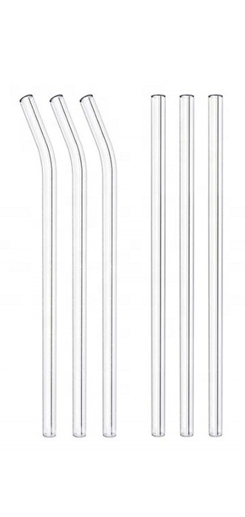 Reusable Glass Straws - Available colors: Orange, Blue, Green, Pink, Purple, Clear, Black, White.Bent or StraightComes packaged with free cleaning brush~8.5 inches long