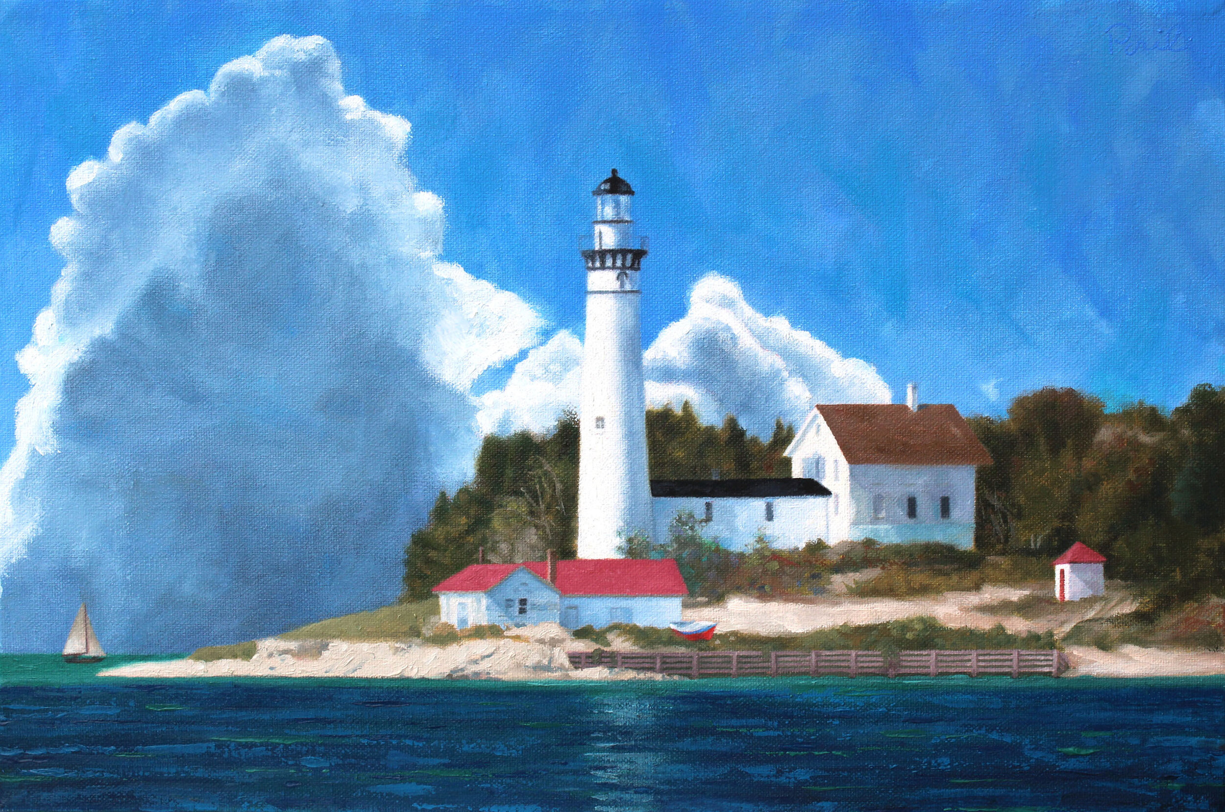 South Manitou Light , oil on canvas, 18 x 24 inches, 2019