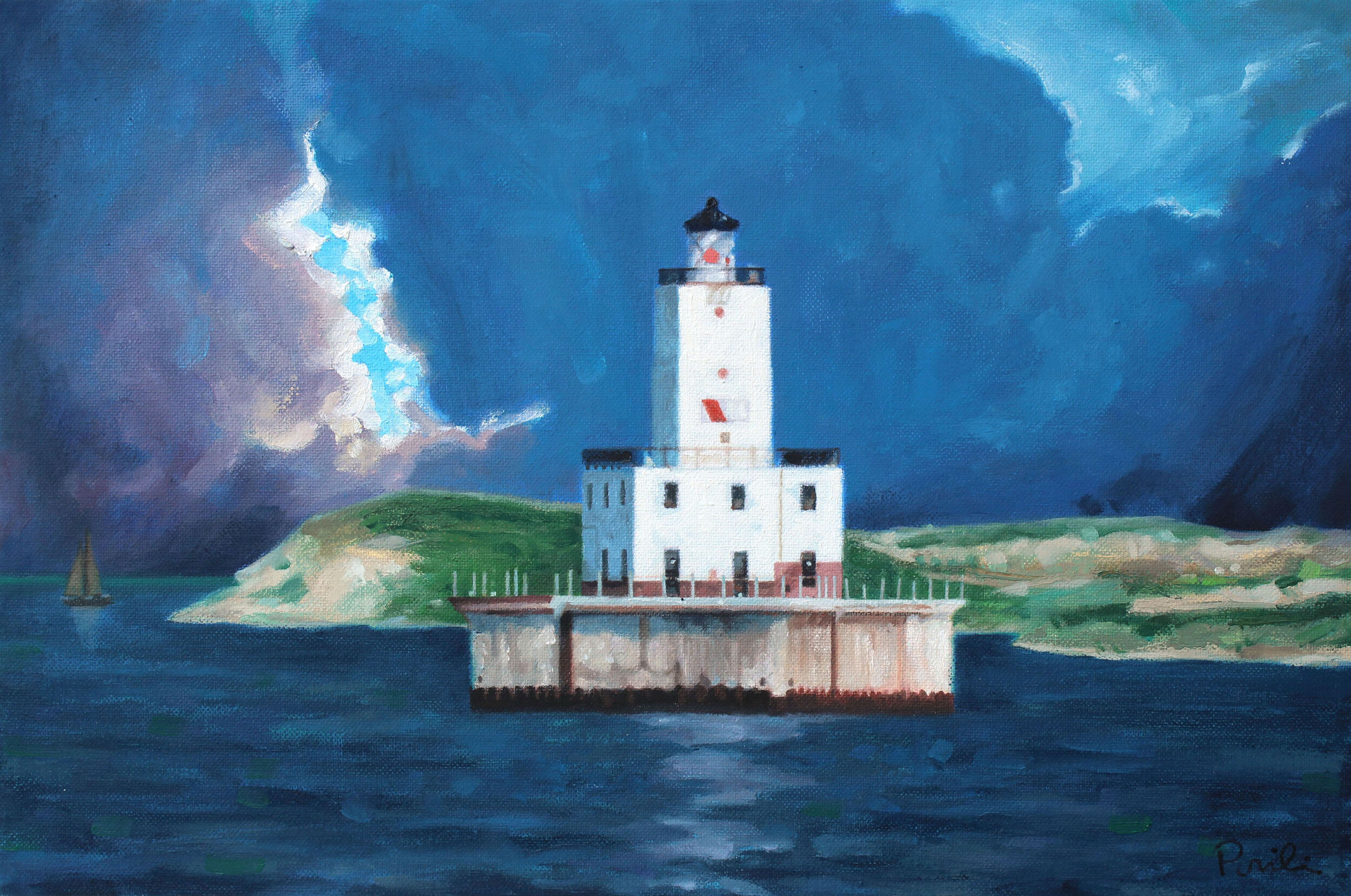 North Manitou Shoal Light , oil on canvas, 18 x 24 inches, 2019