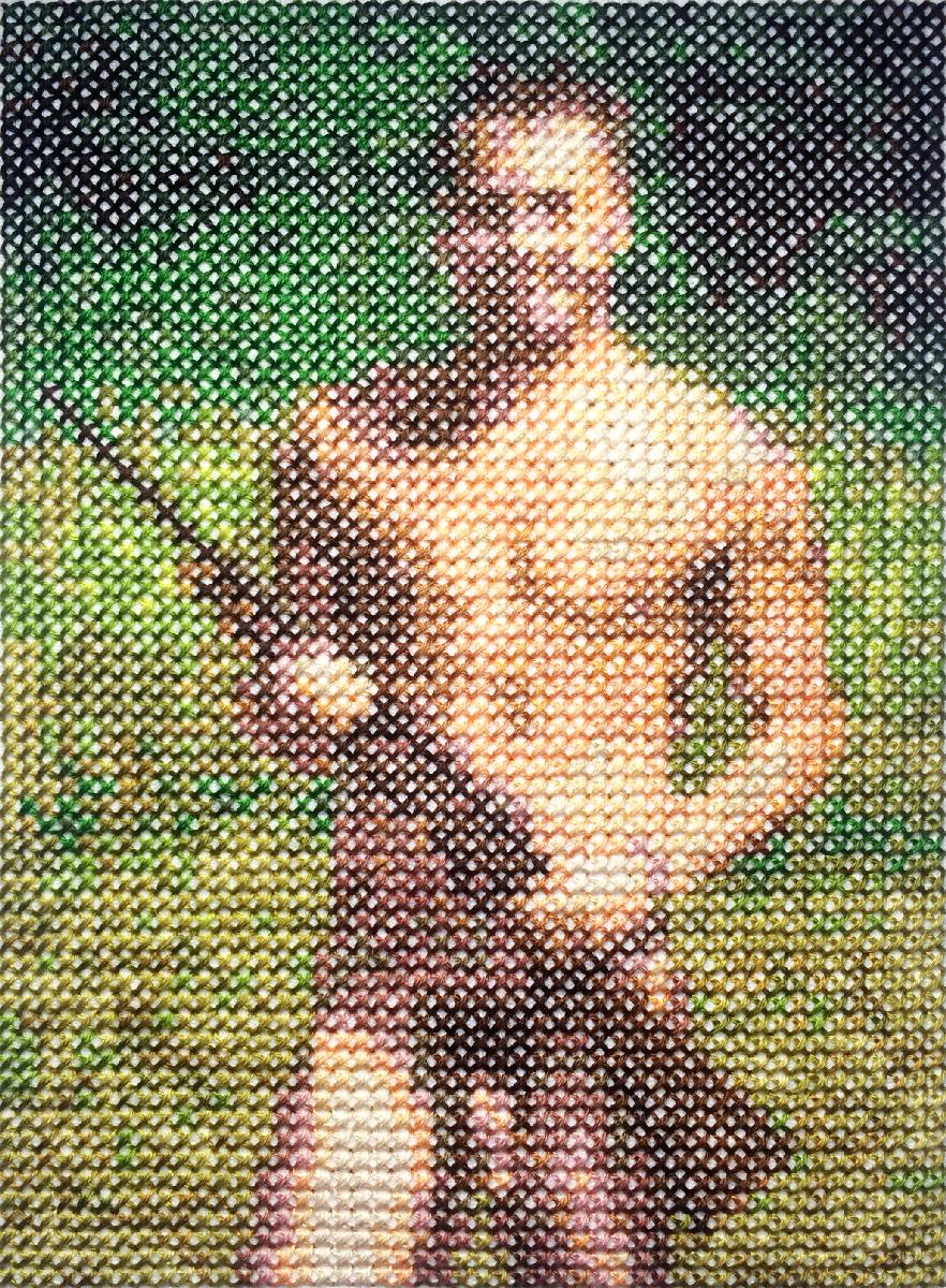commando 4   Cotton thread on aida cloth  6.2 x 4.4 inches  2017