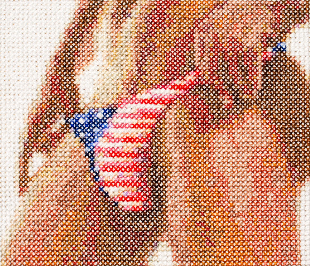 american junk 3   Cotton thread on aida cloth  5.2 x 5.8 inches  2017