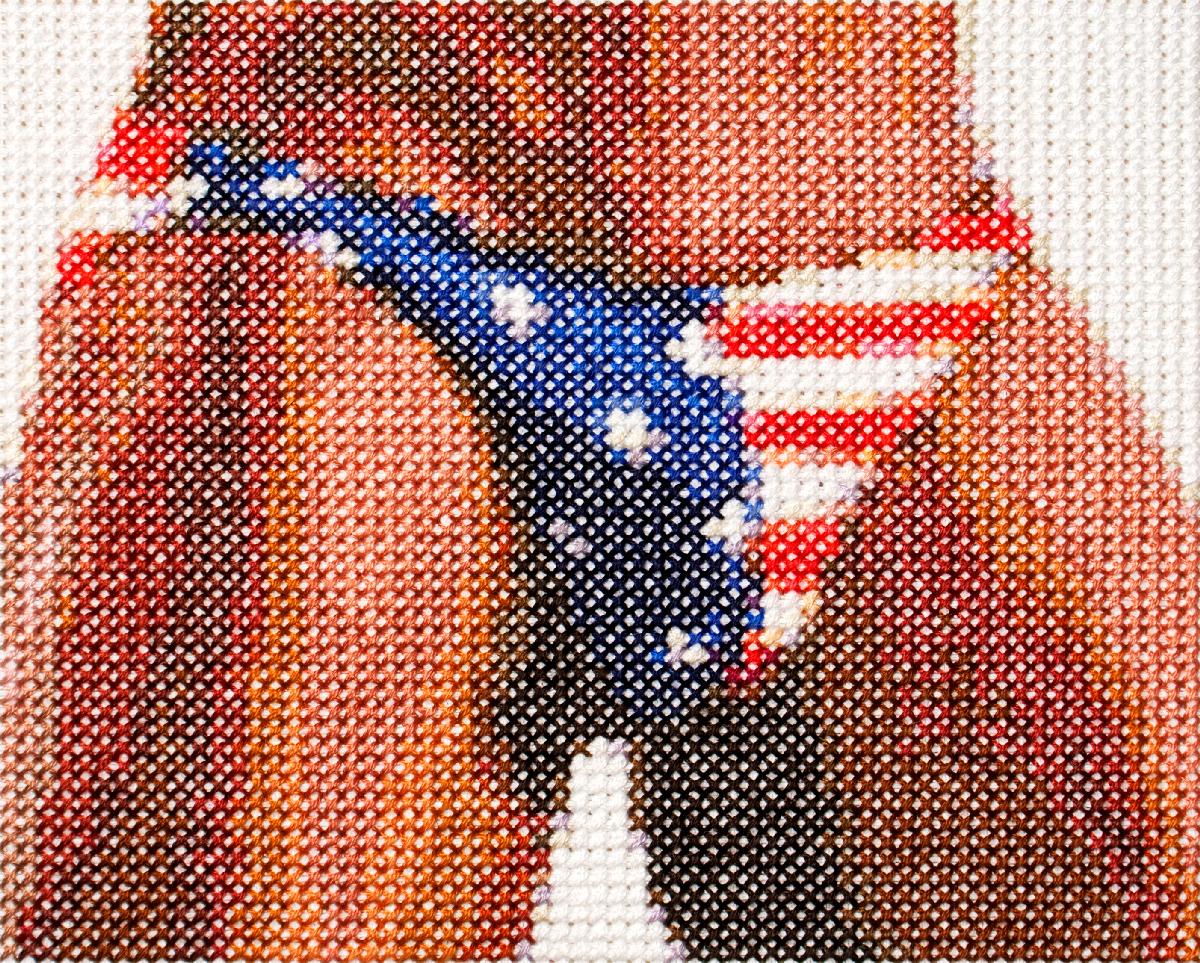 american junk 5   cotton thread on aida cloth  4.75 x 5.75 inches  2017