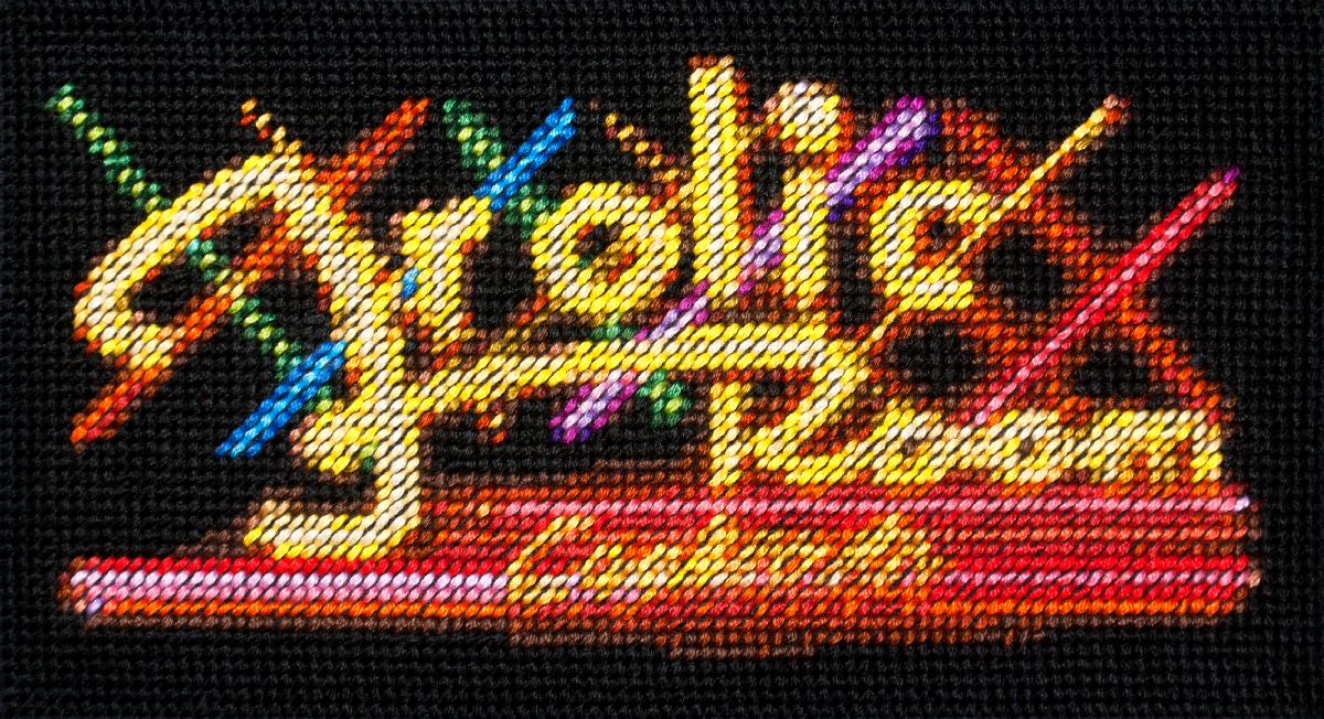 Frolic Room   Cotton thread on aida cloth  3.5 x 6.4 inches  2017