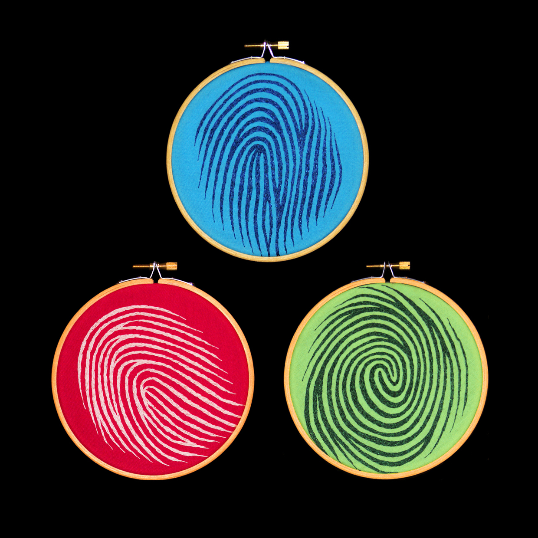 Blue Bird, Pink Pinky, & Green Thumb   Thread on cotton  5.2 inch diameters  2009
