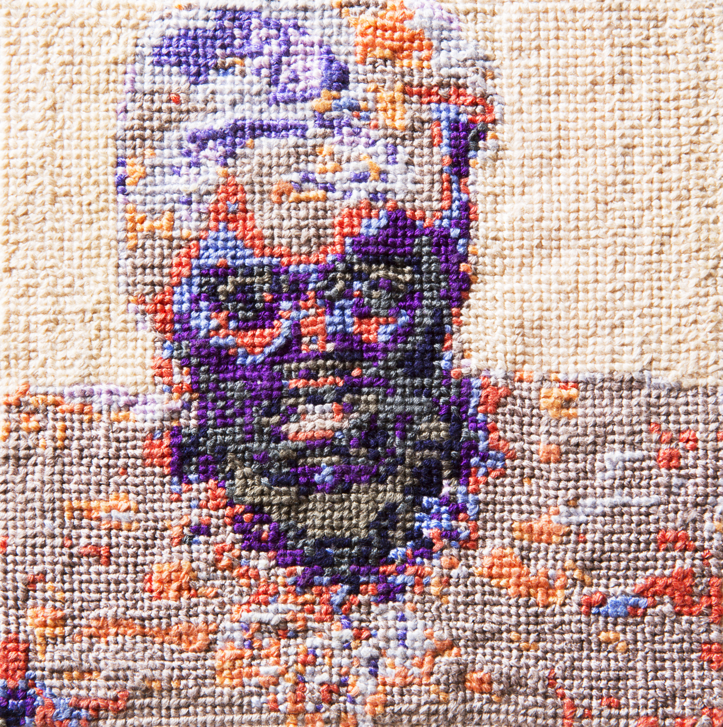 Frame 02   By Romy Aura Maloon  Cotton thread on aida cloth  5 x 5 inches  2013
