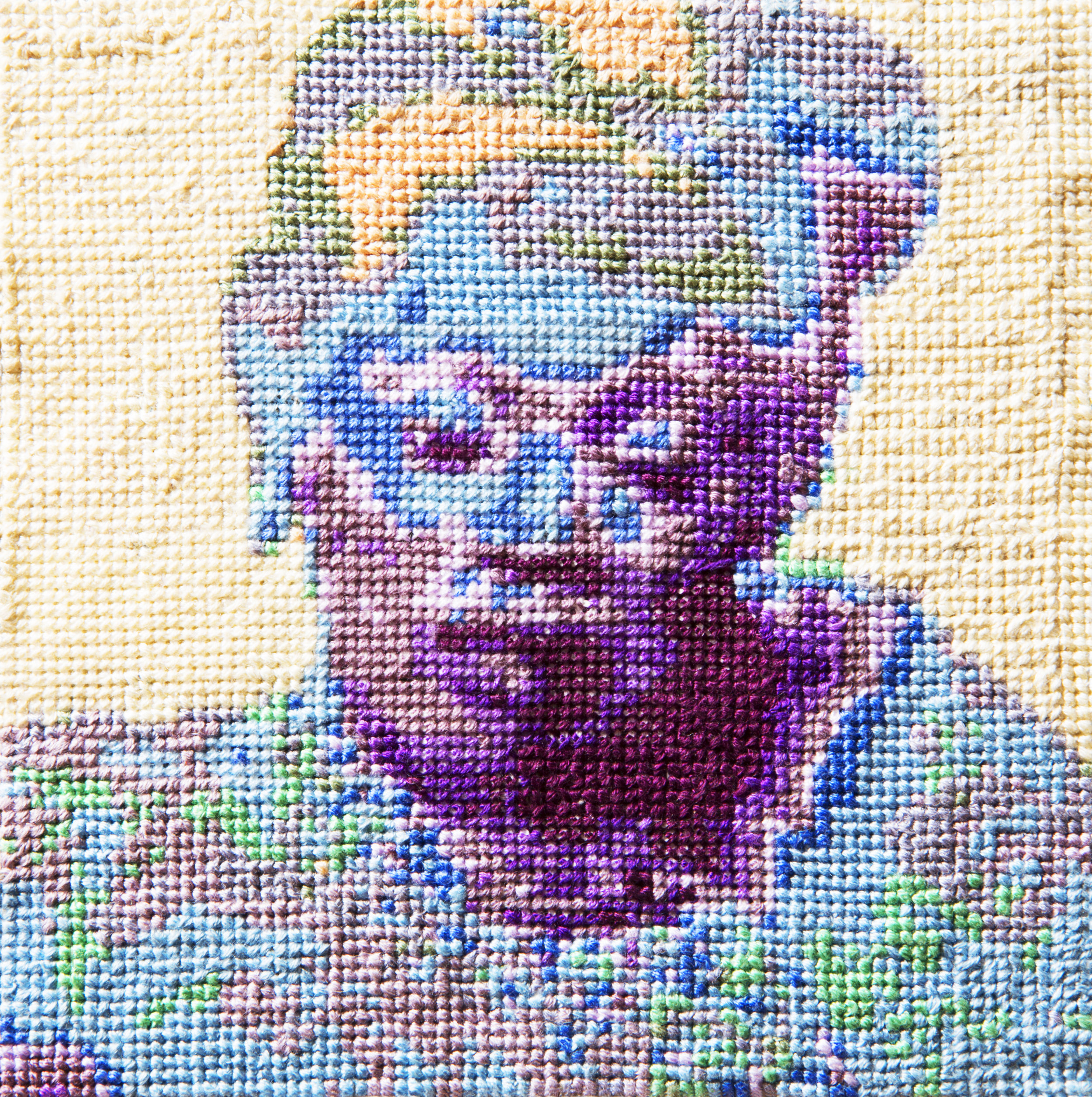 Frame 09   By Andre Keichian  Cotton thread on aida cloth  5 x 5 inches  2013