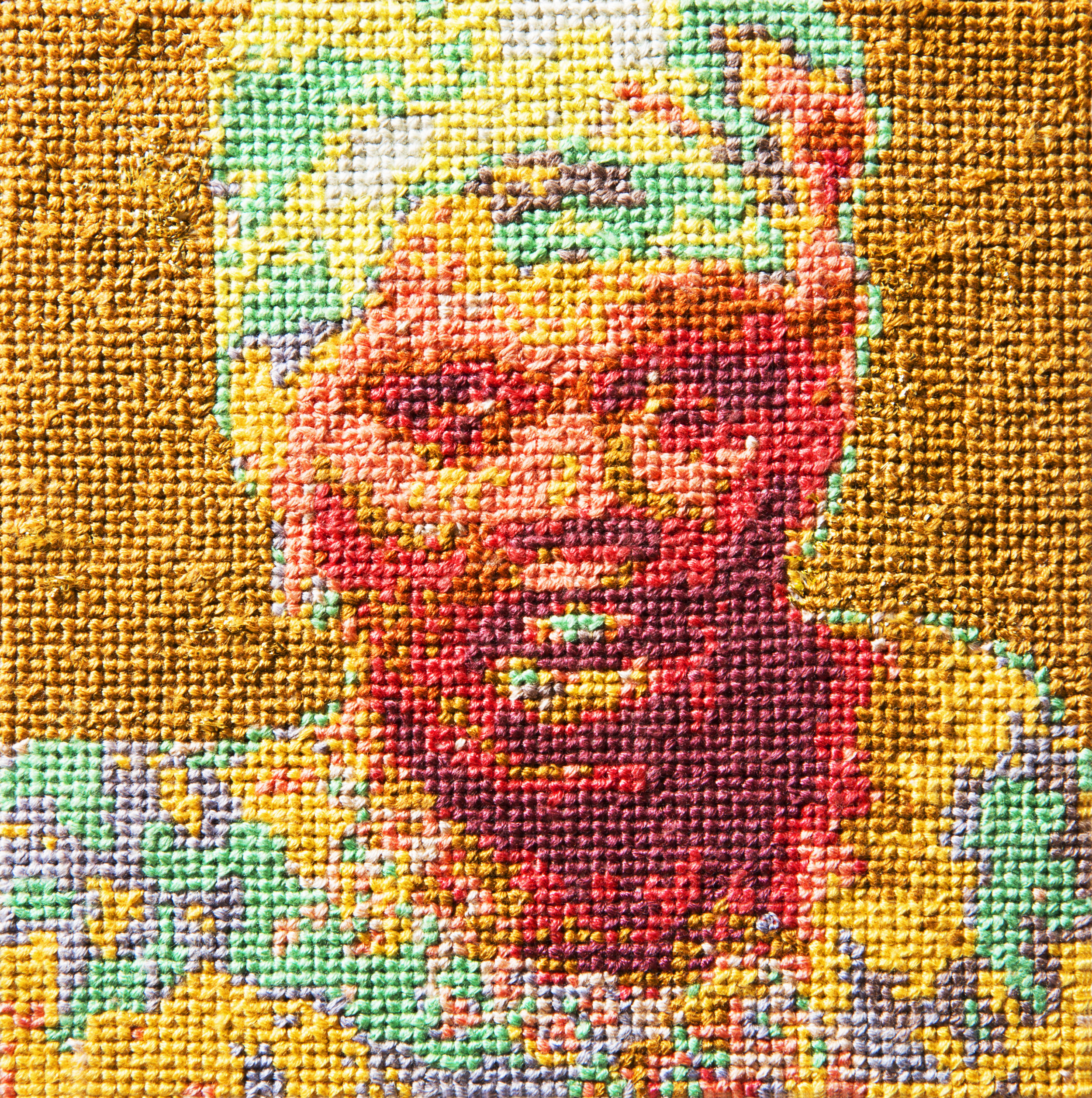 Frame 10   By Clay Butterworth  Cotton thread on aida cloth  5 x 5 inches  2013