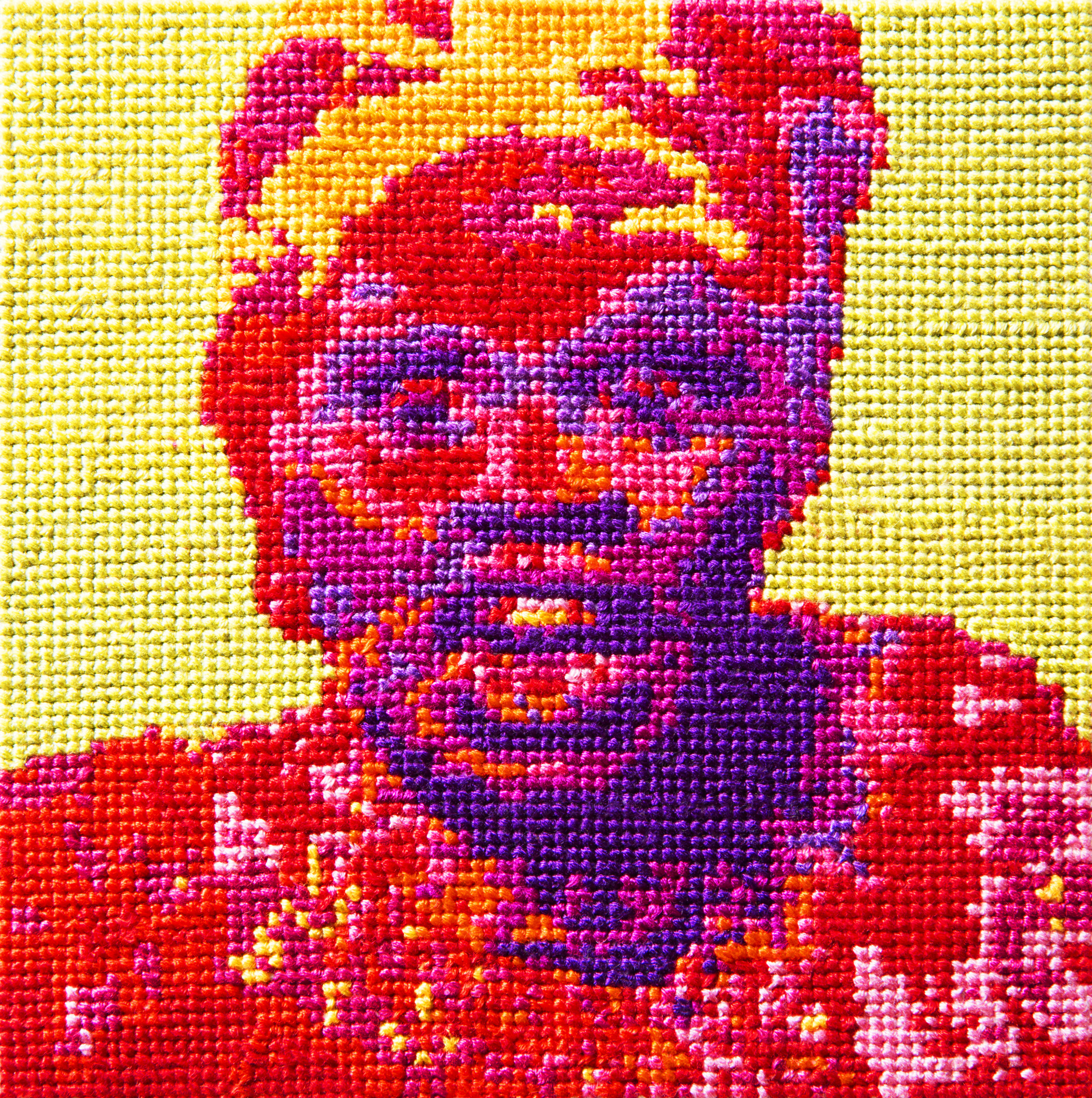 Frame 11   By Olisa Corcoran  Cotton thread on aida cloth  5 x 5 inches  2013