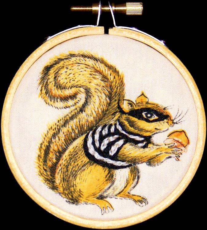 Nut Bandit   Thread on found cotton  3.2 inch diameter  2009