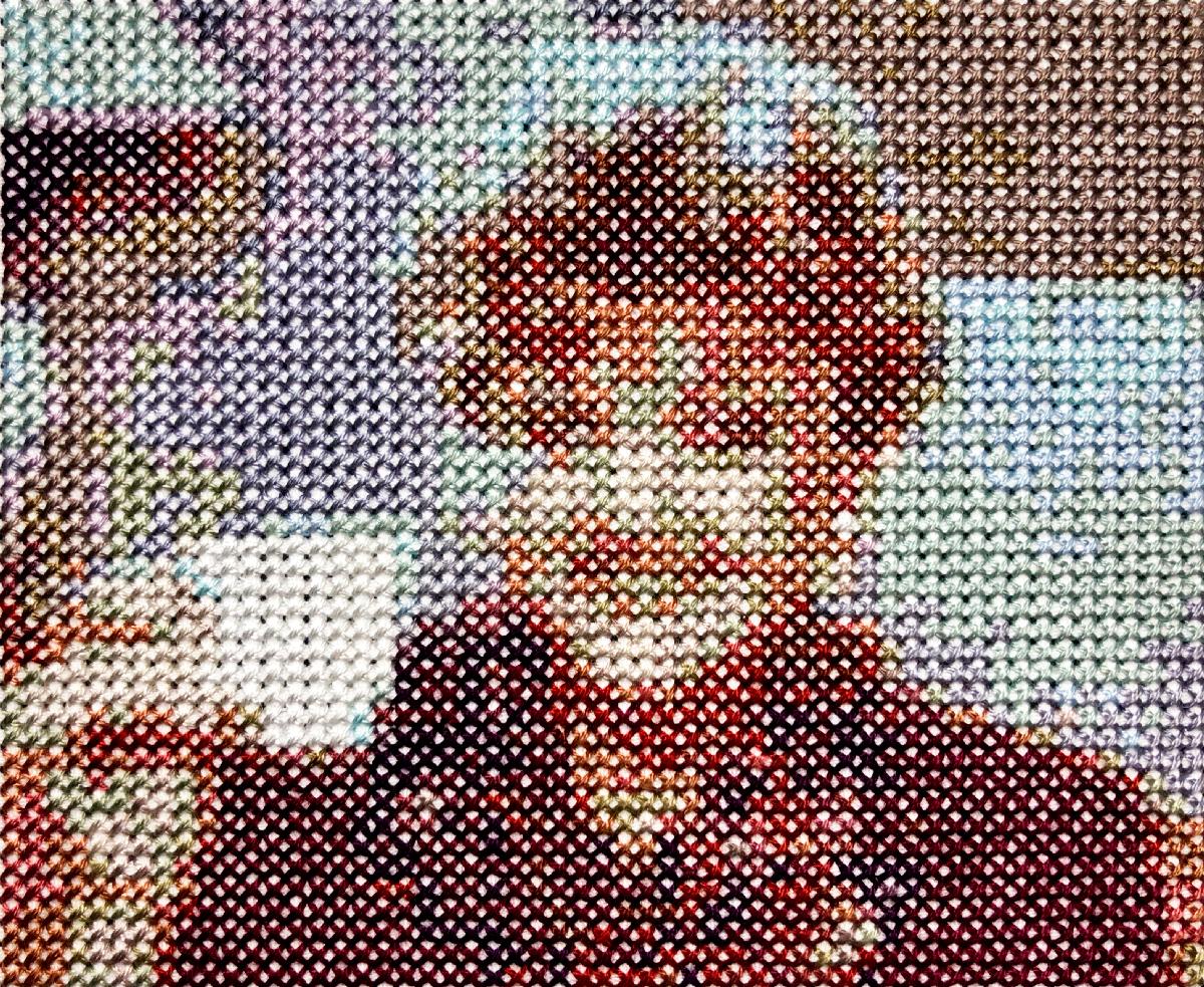 TEA   Frame 07  4.2 x 5.2 inches  Cotton thread on aida cloth  2019