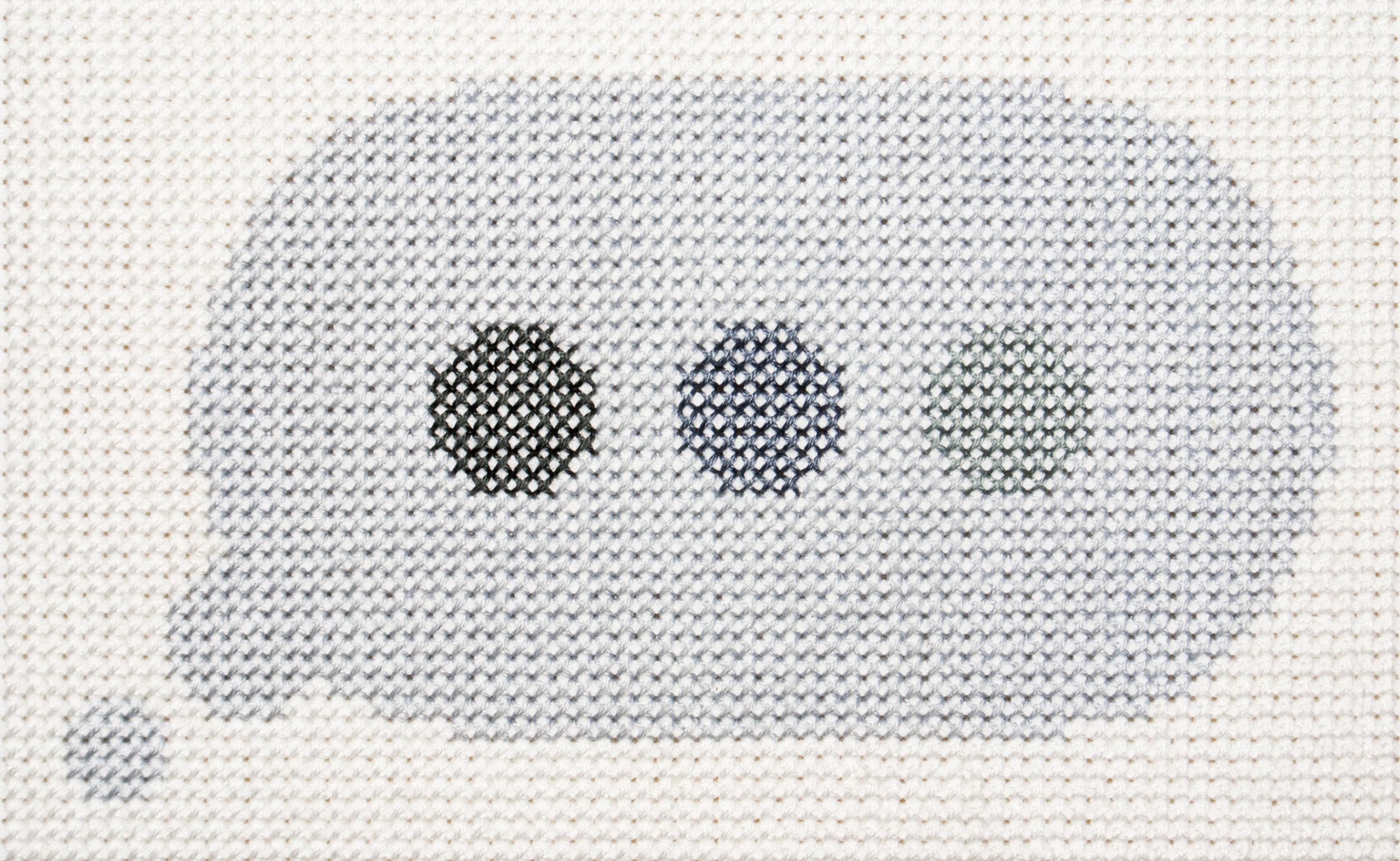 …   Frame 3  Cotton thread on aida cloth  4 x 6.25 inches  2017