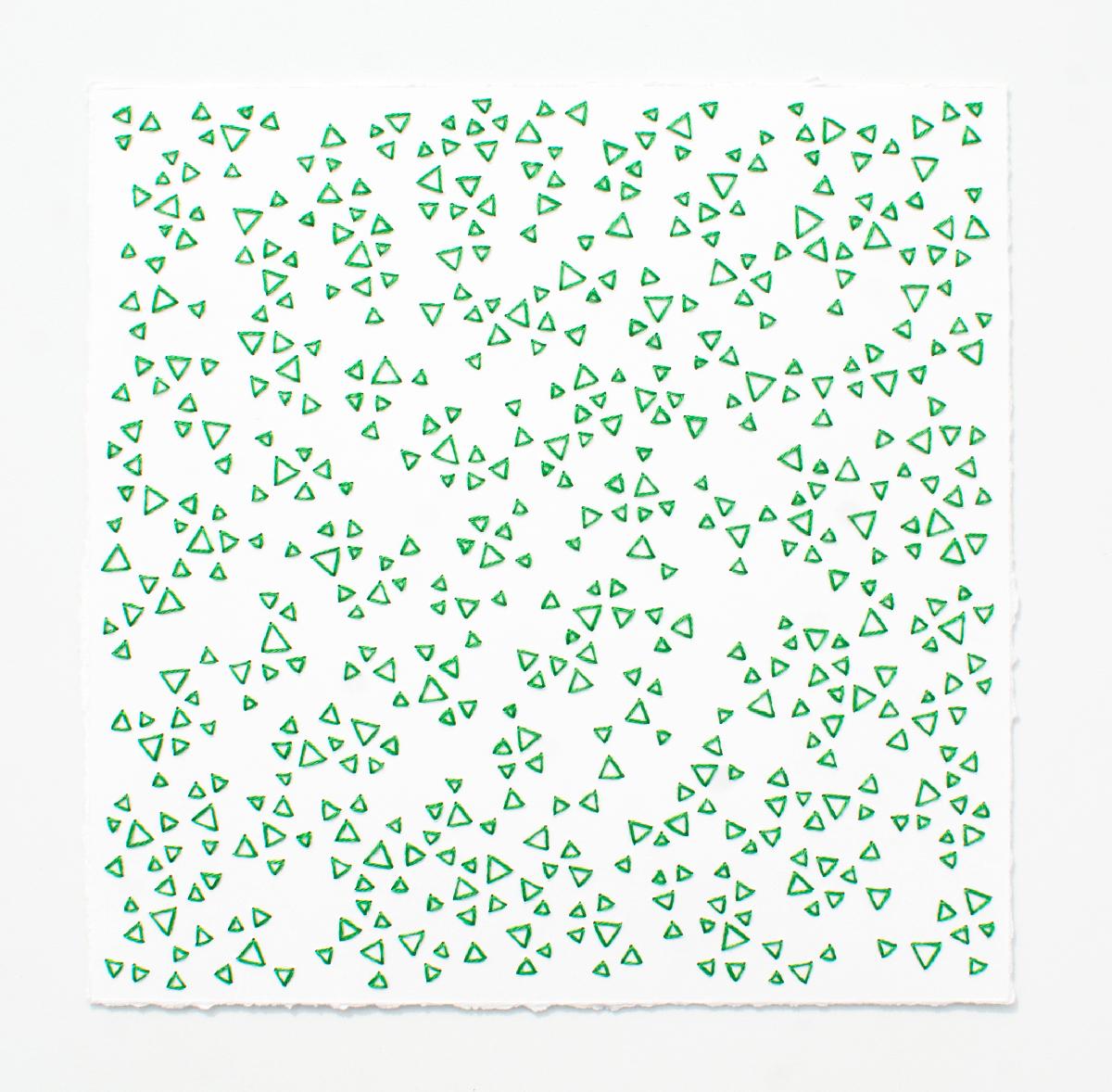 break (green)   Cotton thread on paper  7 x 7 inches  2017