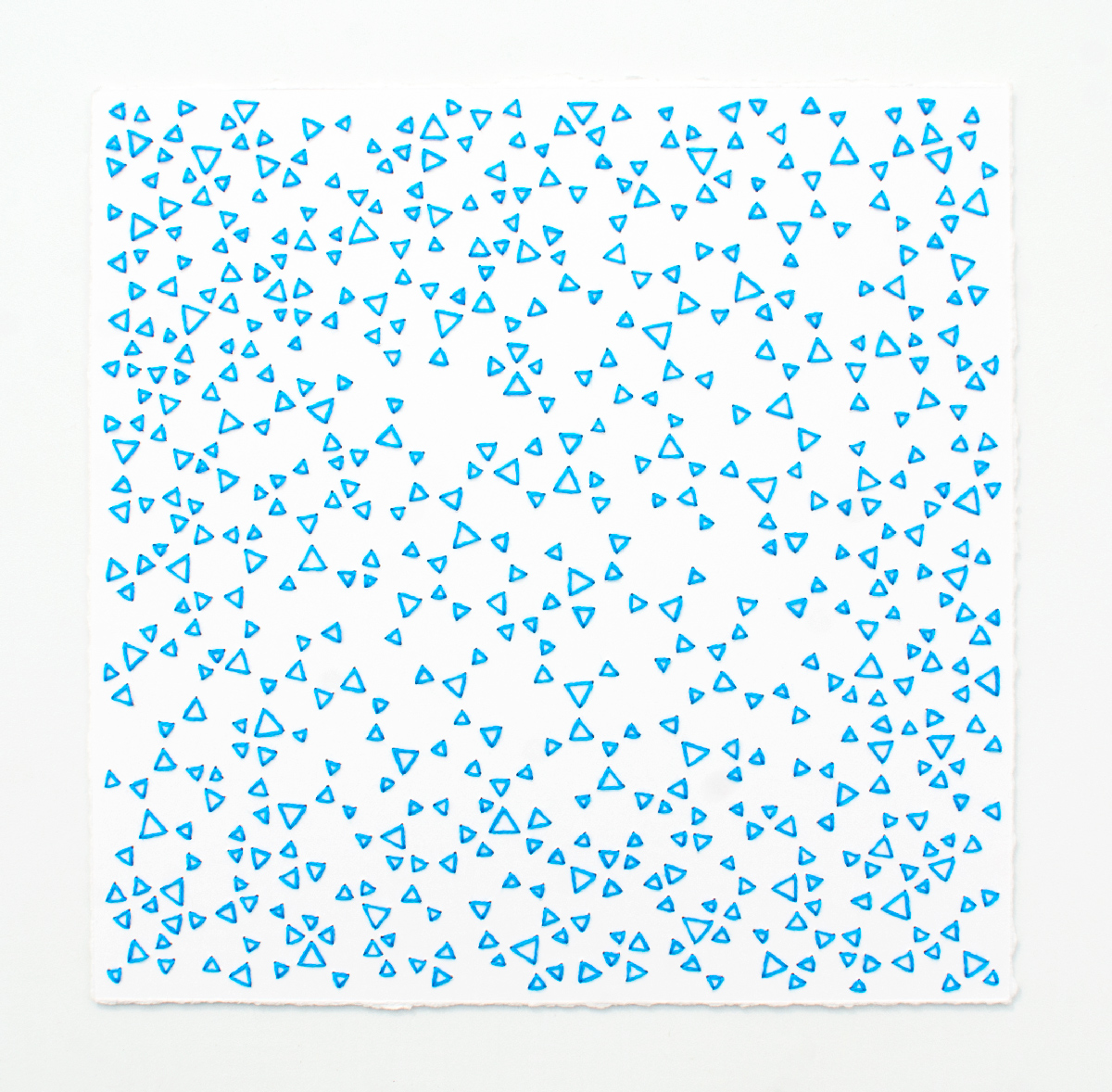 break (blue)   Cotton thread on paper  7 x 7 inches  2017
