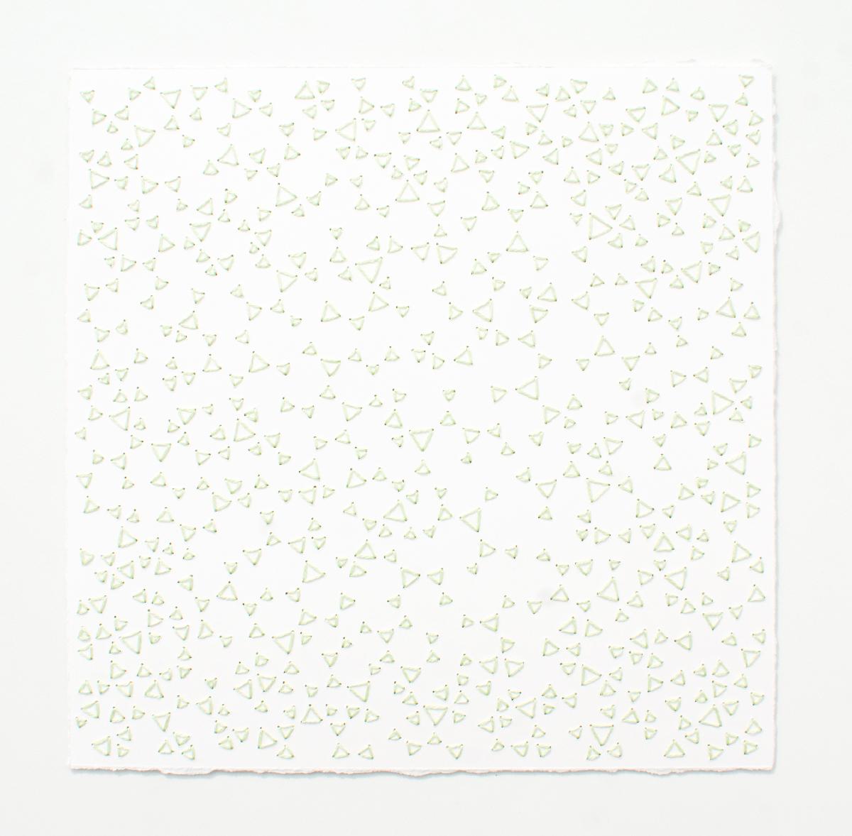 break (mint)   Cotton thread on paper  7 x 7 inches  2017