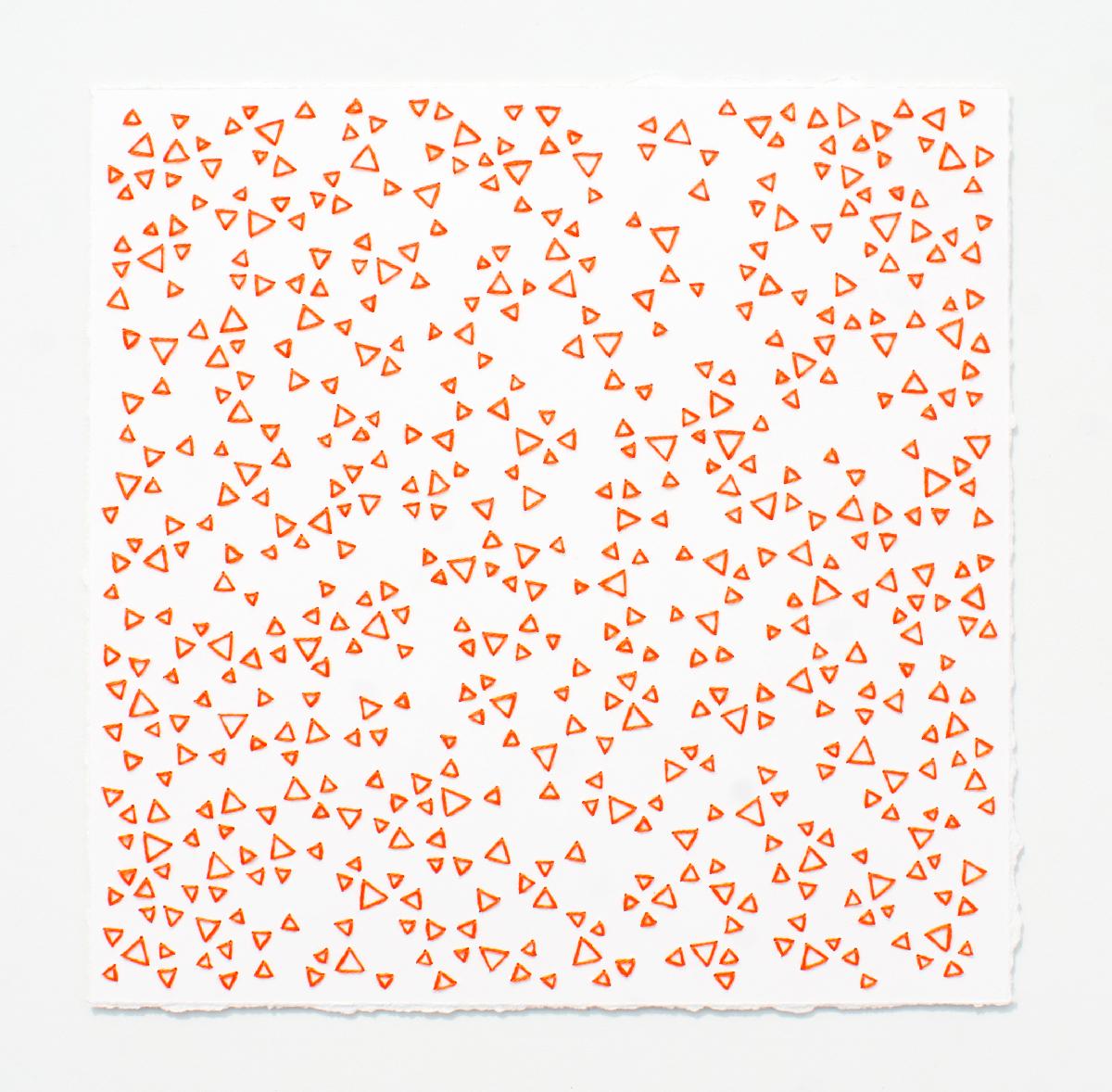 break (orange)   Cotton thread on paper  7 x 7 inches  2017