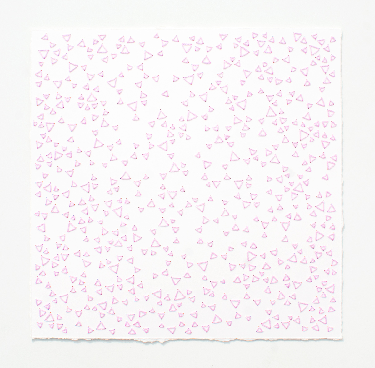 break (pink)   Cotton thread on paper  7 x 7 inches  2017