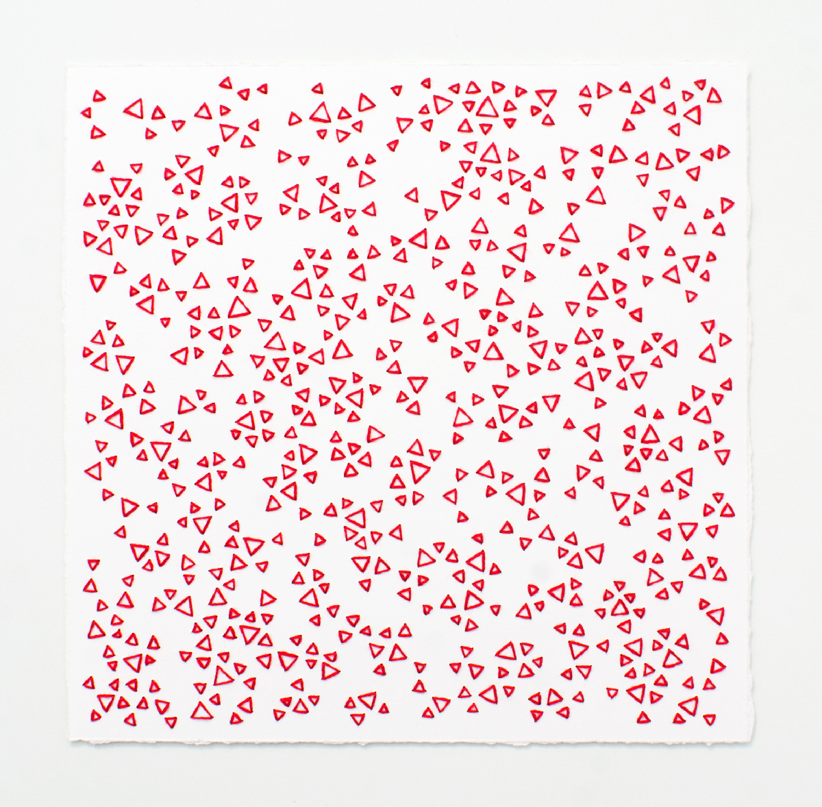 break (red)   Cotton thread on paper  7 x 7 inches  2017