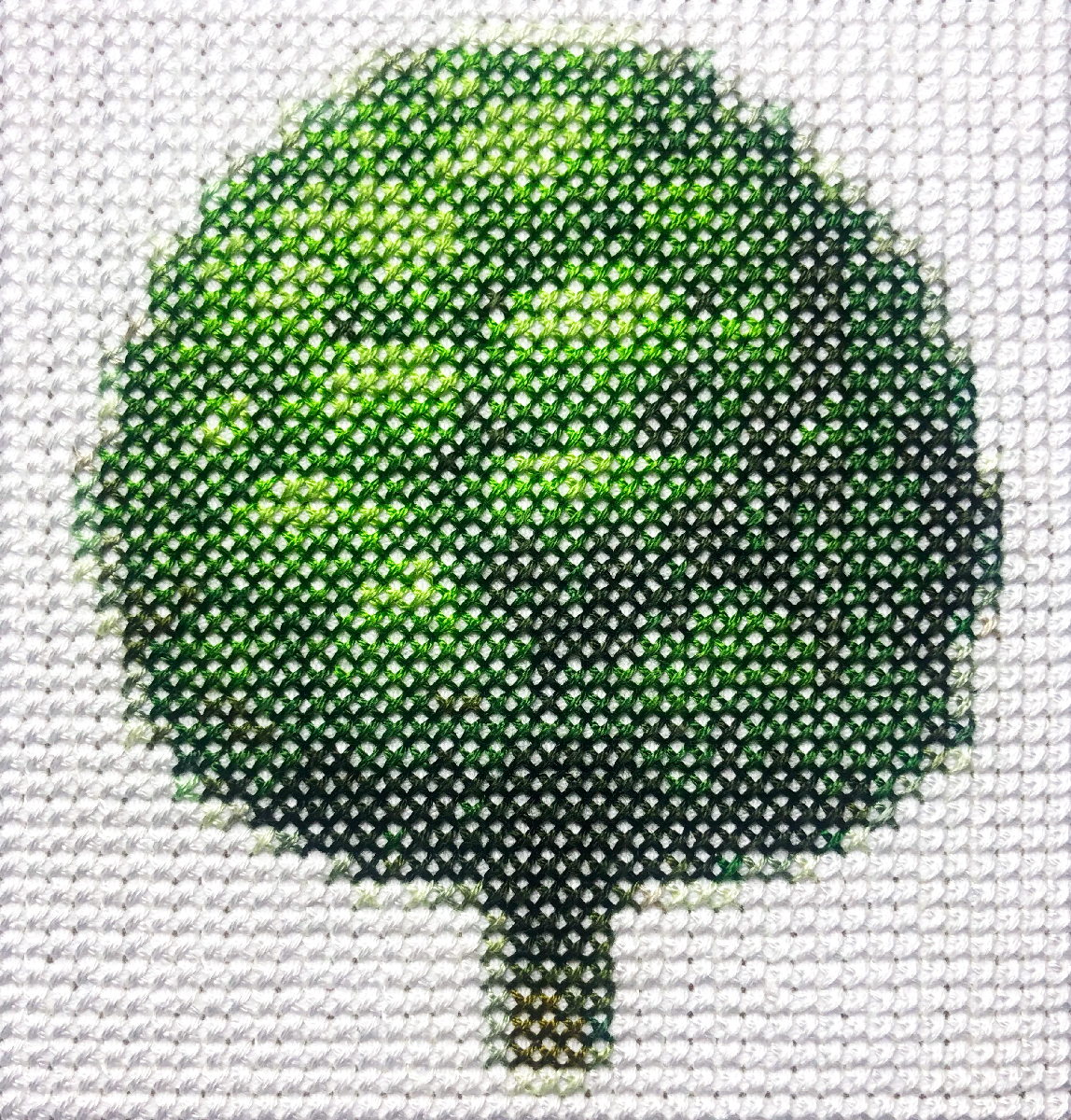 tree   Cotton thread on aida cloth  4.8 x 4 inches  2019