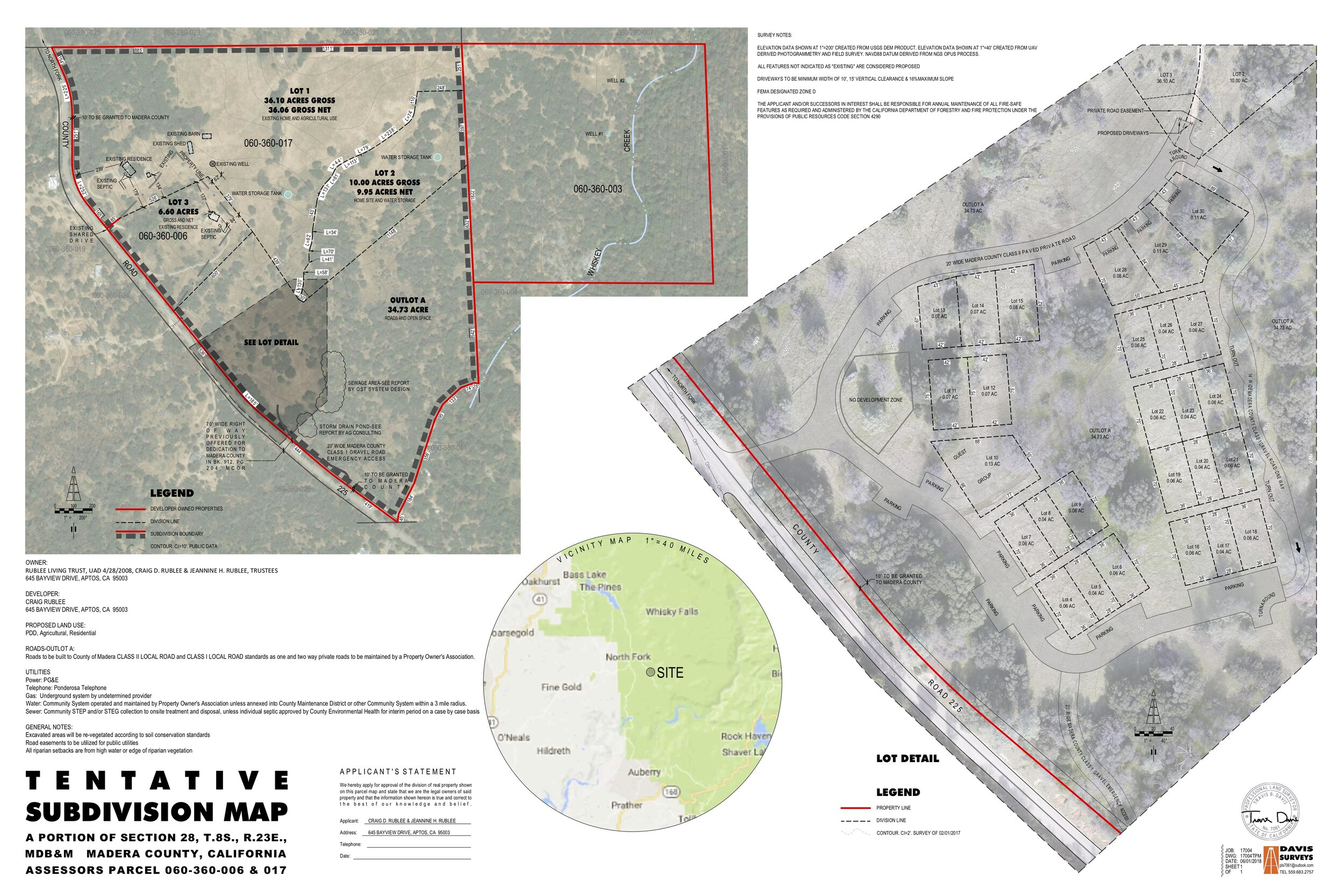 Tentative Subdivision Map approved by the county on October 23rd.