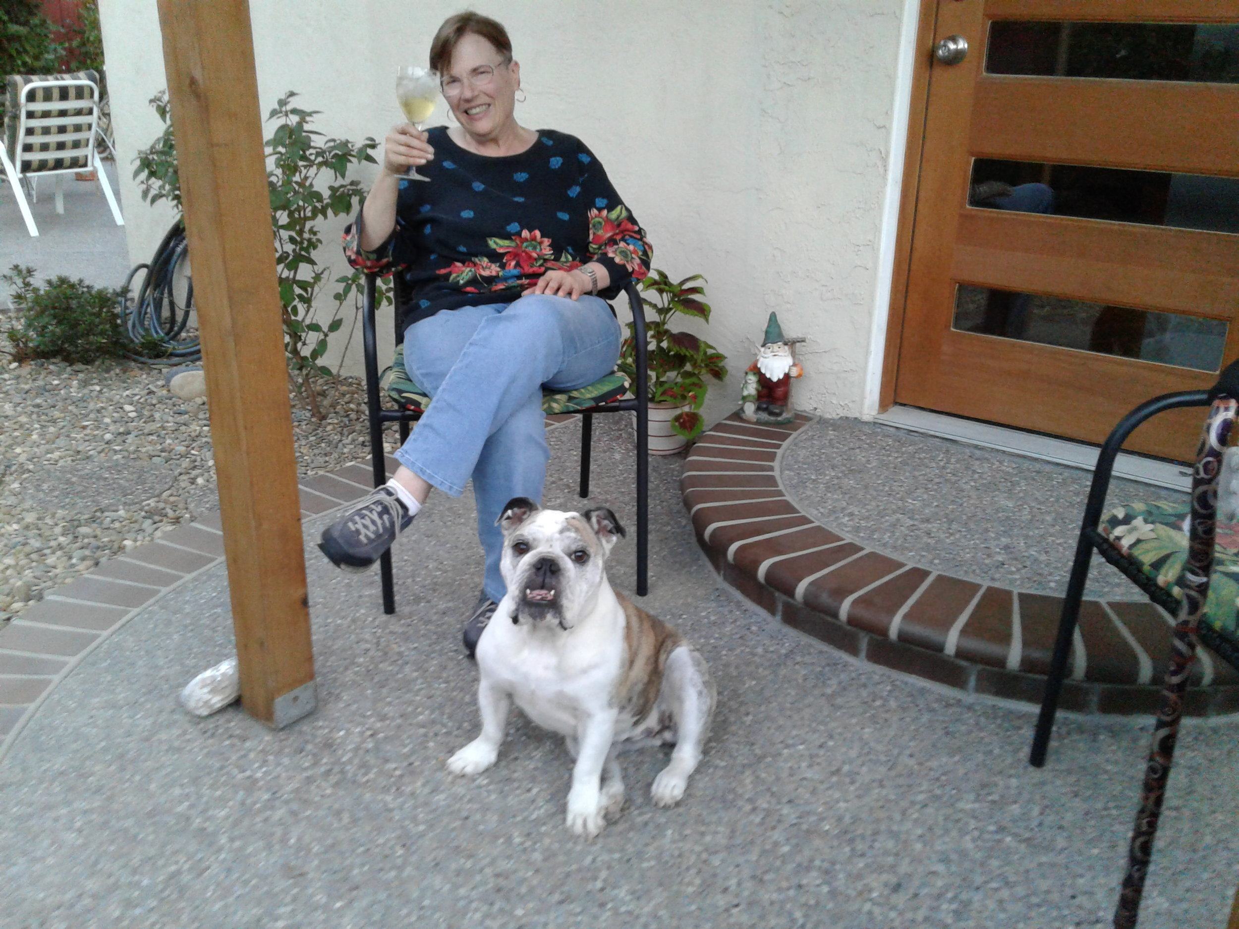 2017: Lita and Rescue Bulldog, Sofia, toasting the new book