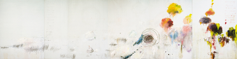 CY TWOMBLY, UNTITLED (SAY GOODBYE, CATULLUS, TO THE SHORES OF ASIA MINOR), 1994, OIL, ACRYLIC, OIL STICK, CRAYON AND GRAPHITE ON THREE CANVASES, 4001 x 15850 mm, THE MENIL COLLECTION, HOUSTON
