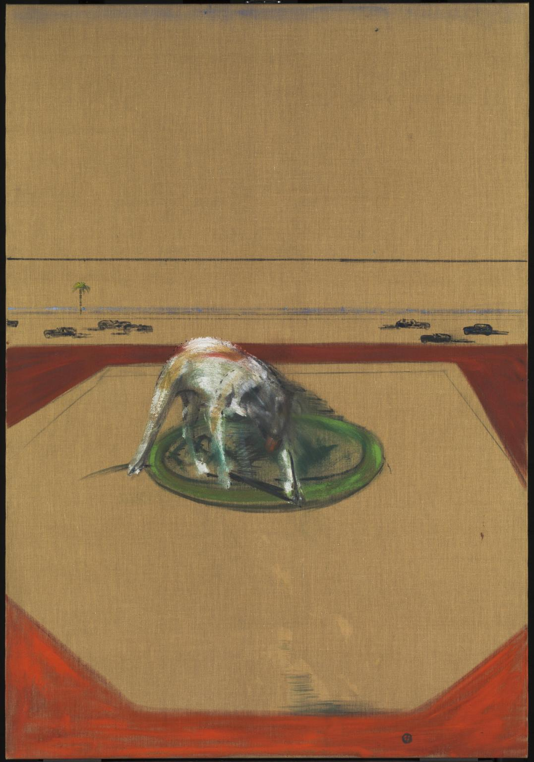 FRANCIS BACON, DOG, 1952, OIL CHARCOAL AND SAND ON CANVAS, 1981 x 1372 mm, TATE COLLECTION, LONDON