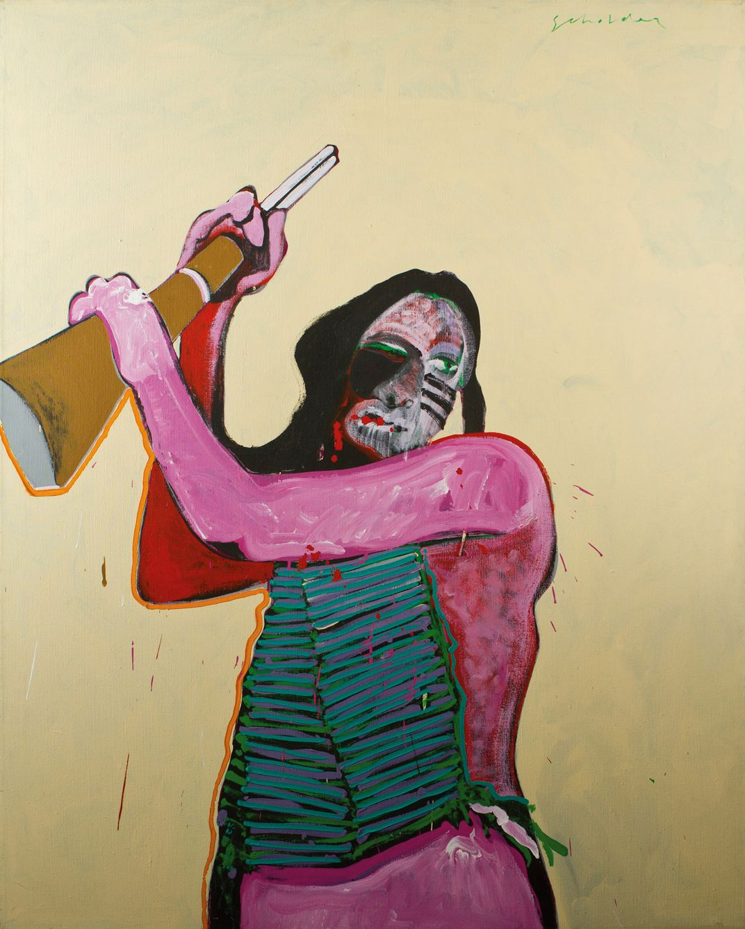 FRITZ SCHOLDER, HOLLYWOOD INDIAN, 1973, ACRYLIC ON CANVAS, 1727 x 1371 mm, PRIVATE COLLECTION