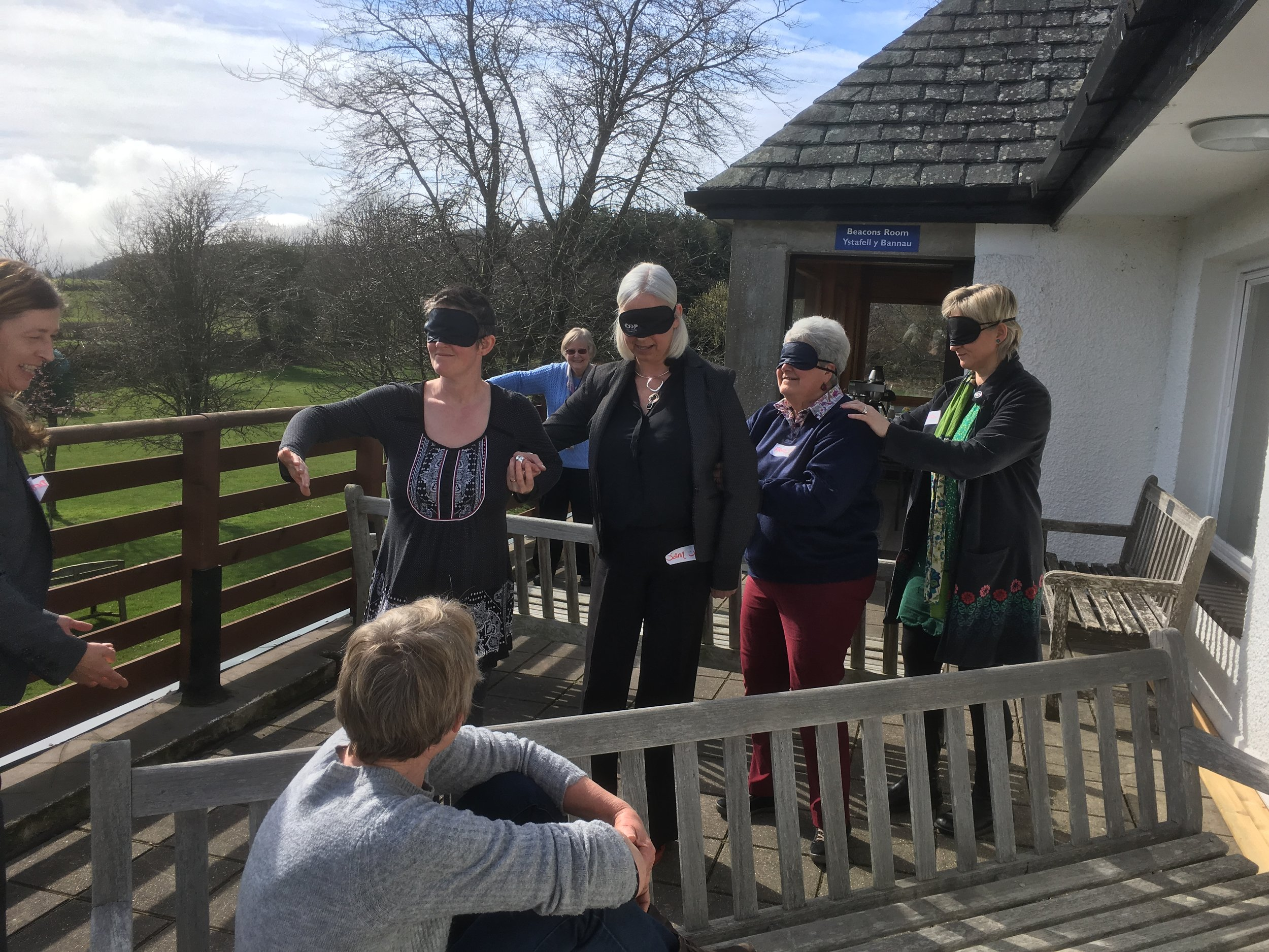Dementia Matters in Powys learning about effective communication in a blindfold exercise