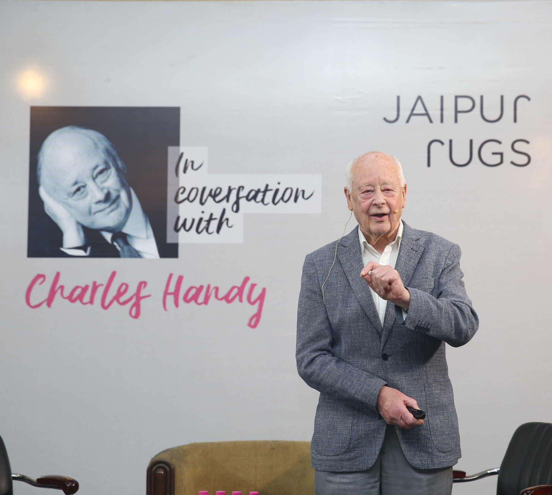 Speaking at international events - Charles Handy recently spoke at a special event in Jaipur with over 60 organisational leaders. This attracted a lot of media coverage.