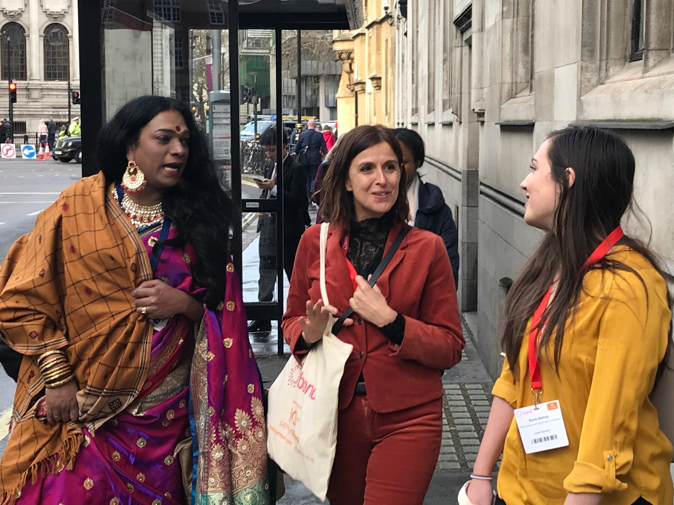 Lorna and Rosie pictured with Abhina Aher, a transgender activist and the keynote speaker of the 2019 Bond conference