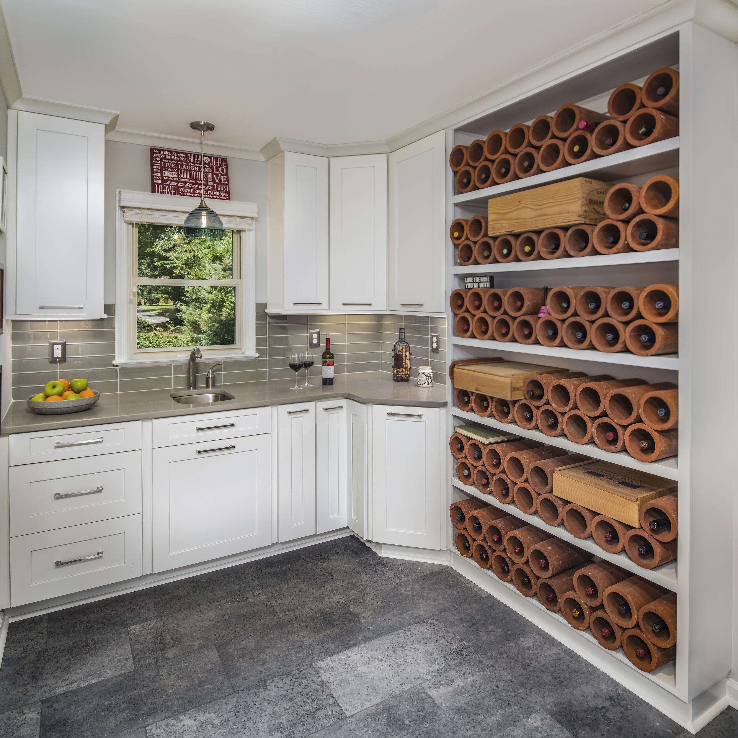 kitchen remodel with cork wine rack