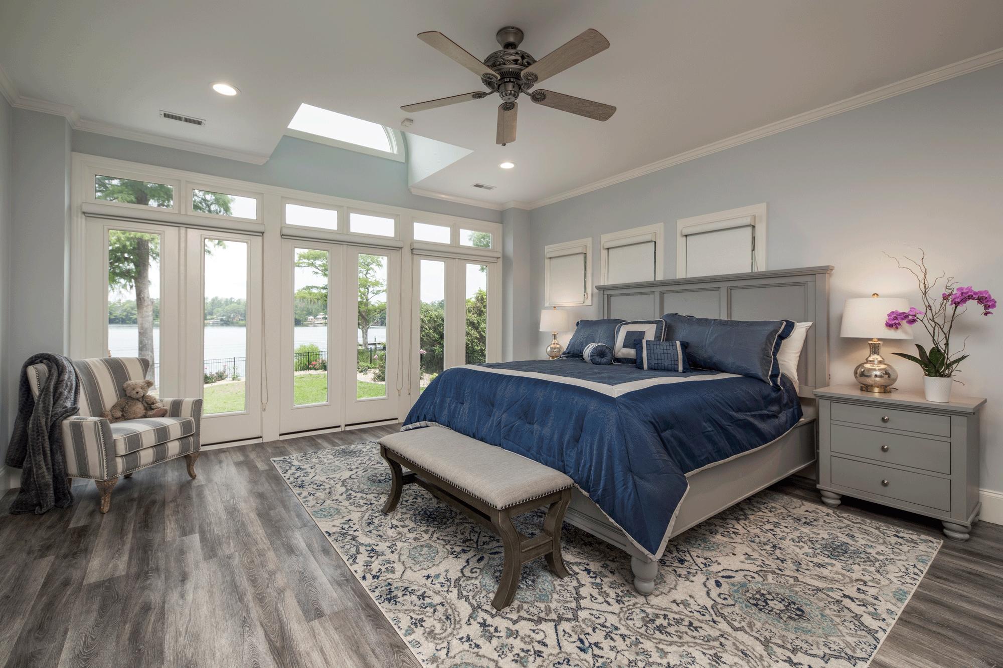 bedroom interior design with furniture, decor, lighting