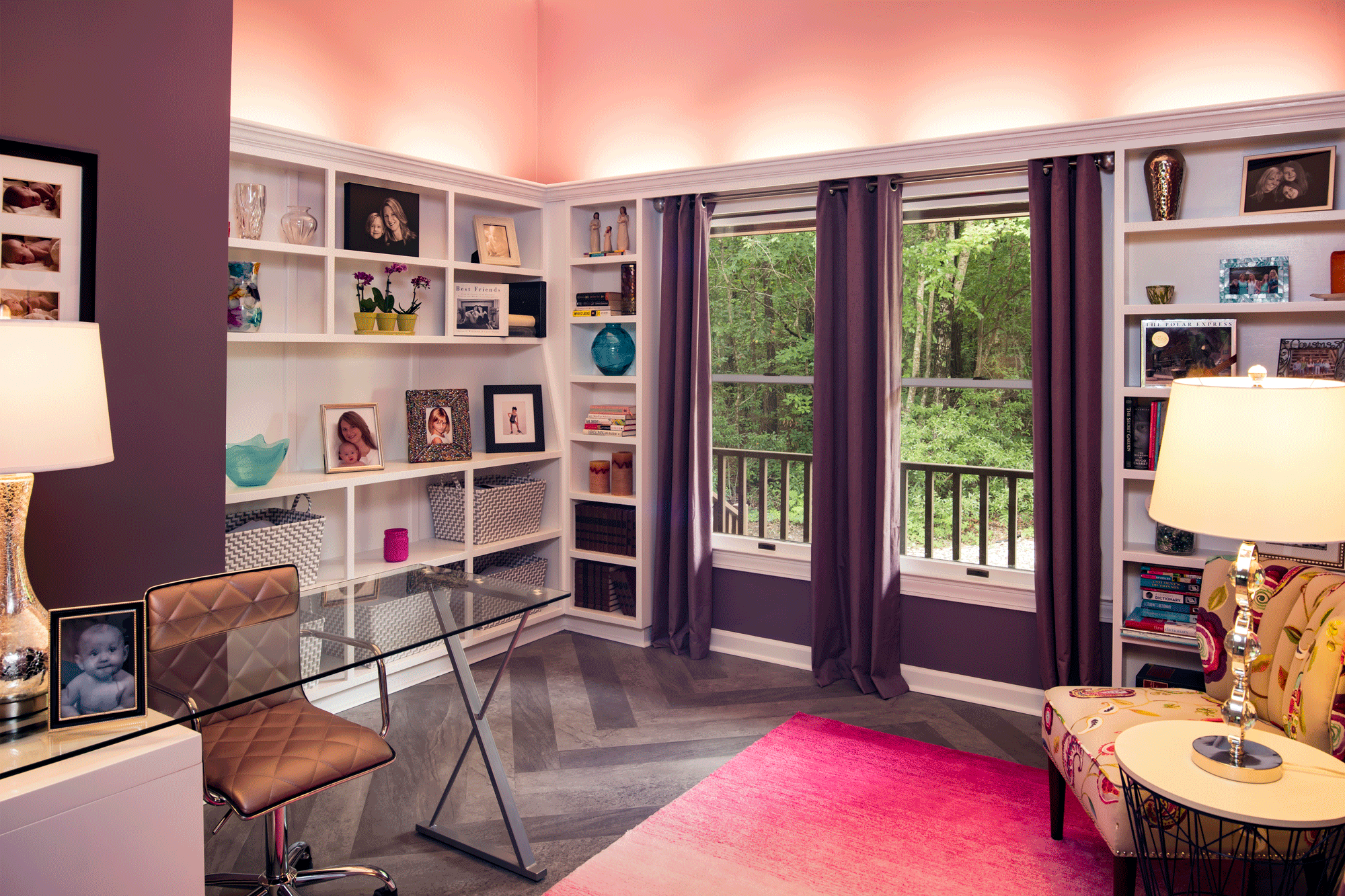 office design and decor with plum paint