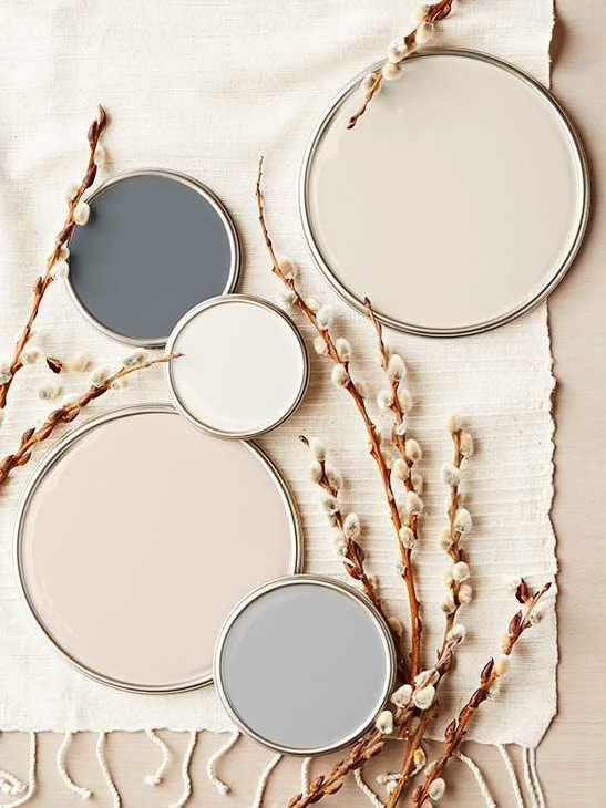 Flatlay image of paint lids with different colors - taupe, grey, beige - with cotton stalks and fabric