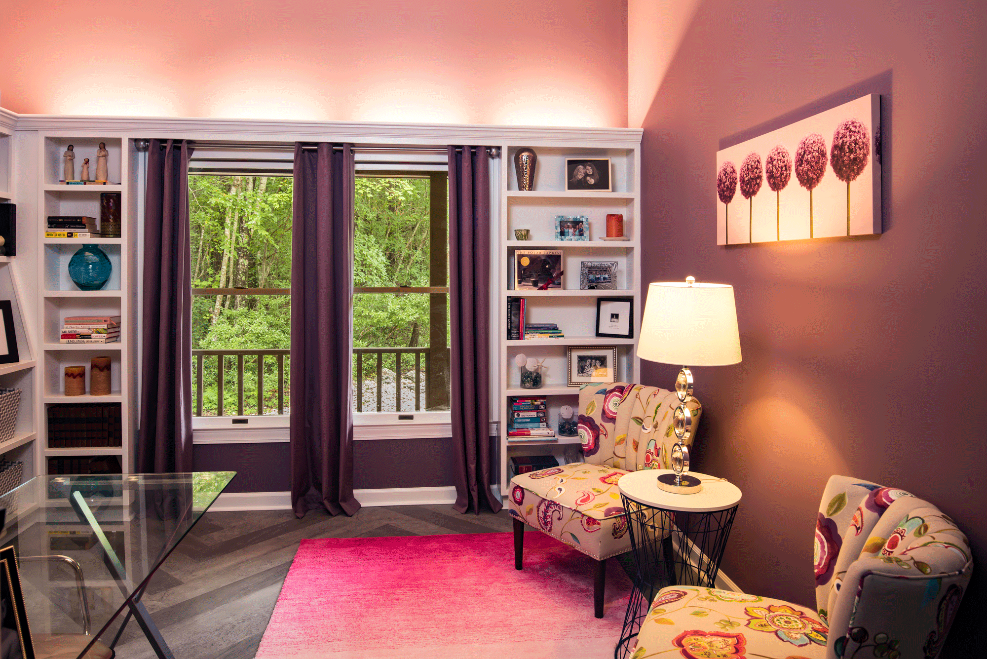 Office design with decor, paint color, drapes