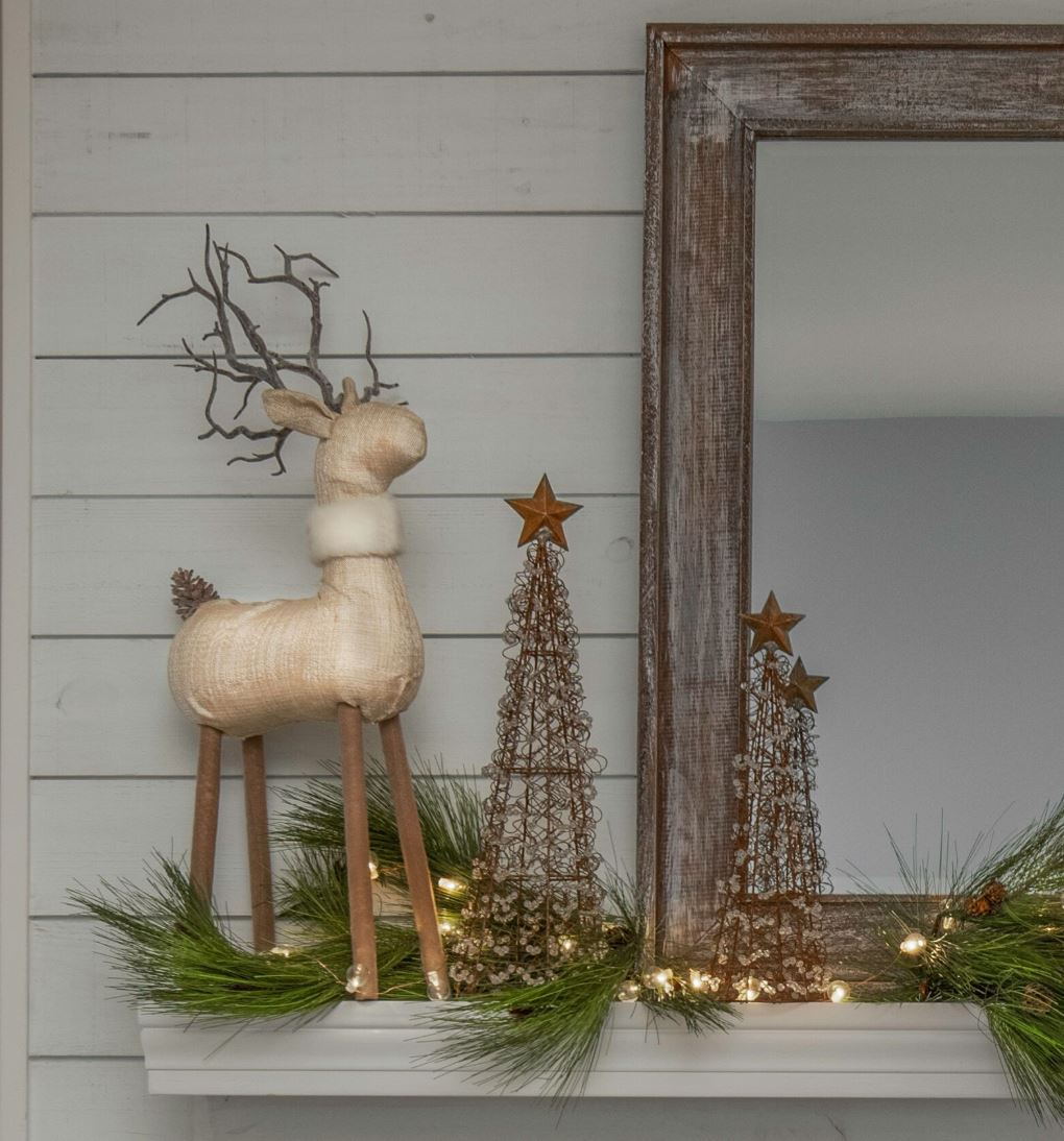Mantle design with holiday decor