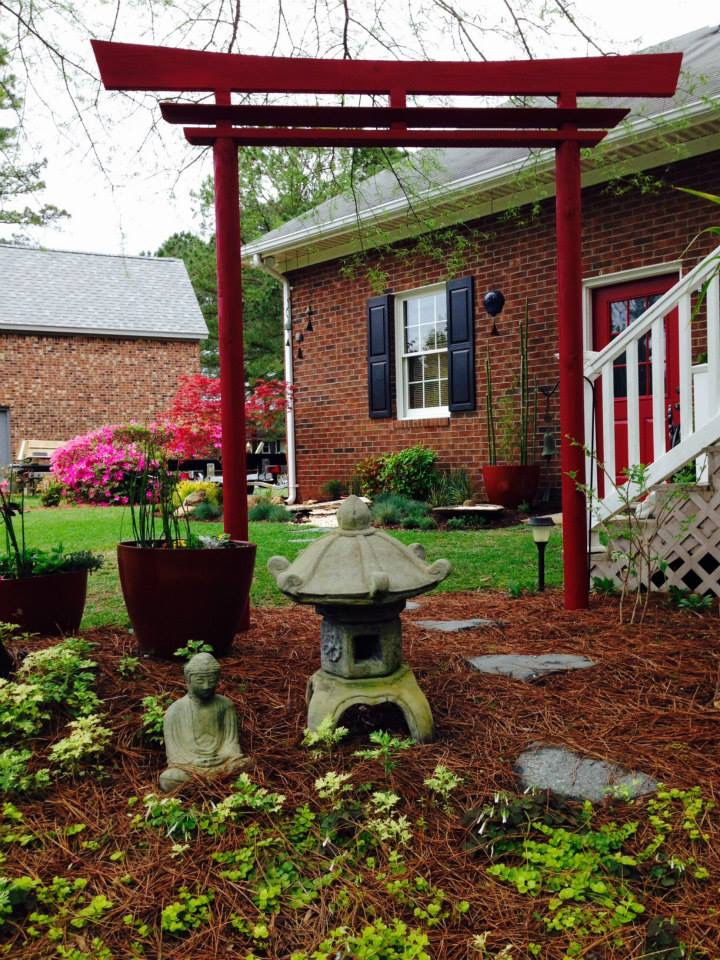 Landscape design with Asian decor backyard