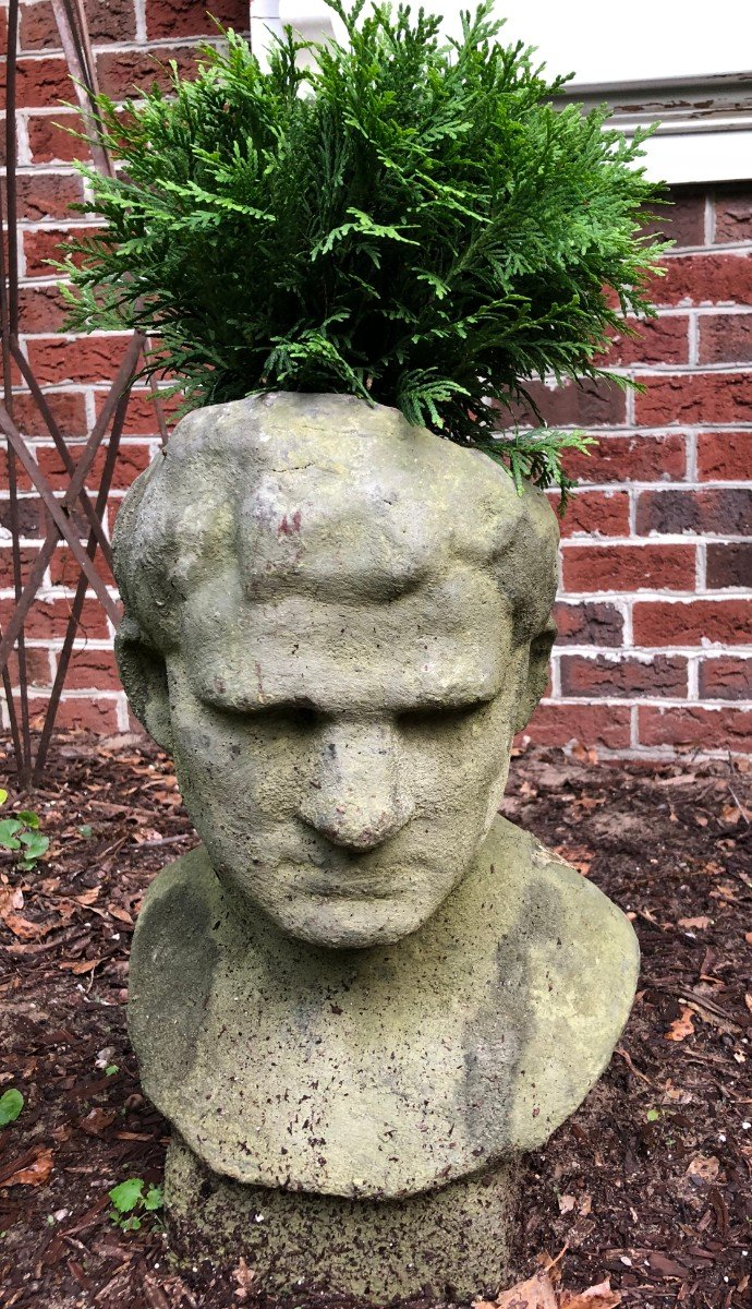 Bust urn sculpture with fern plant