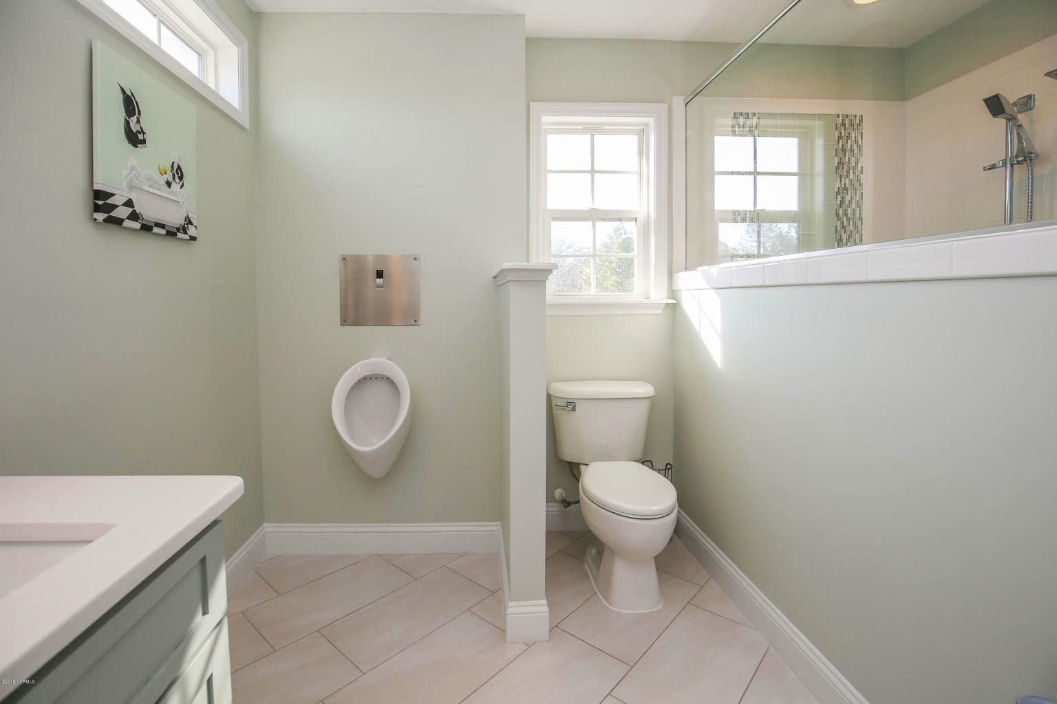 master bathroom remodel with urinal and comfort height toilet