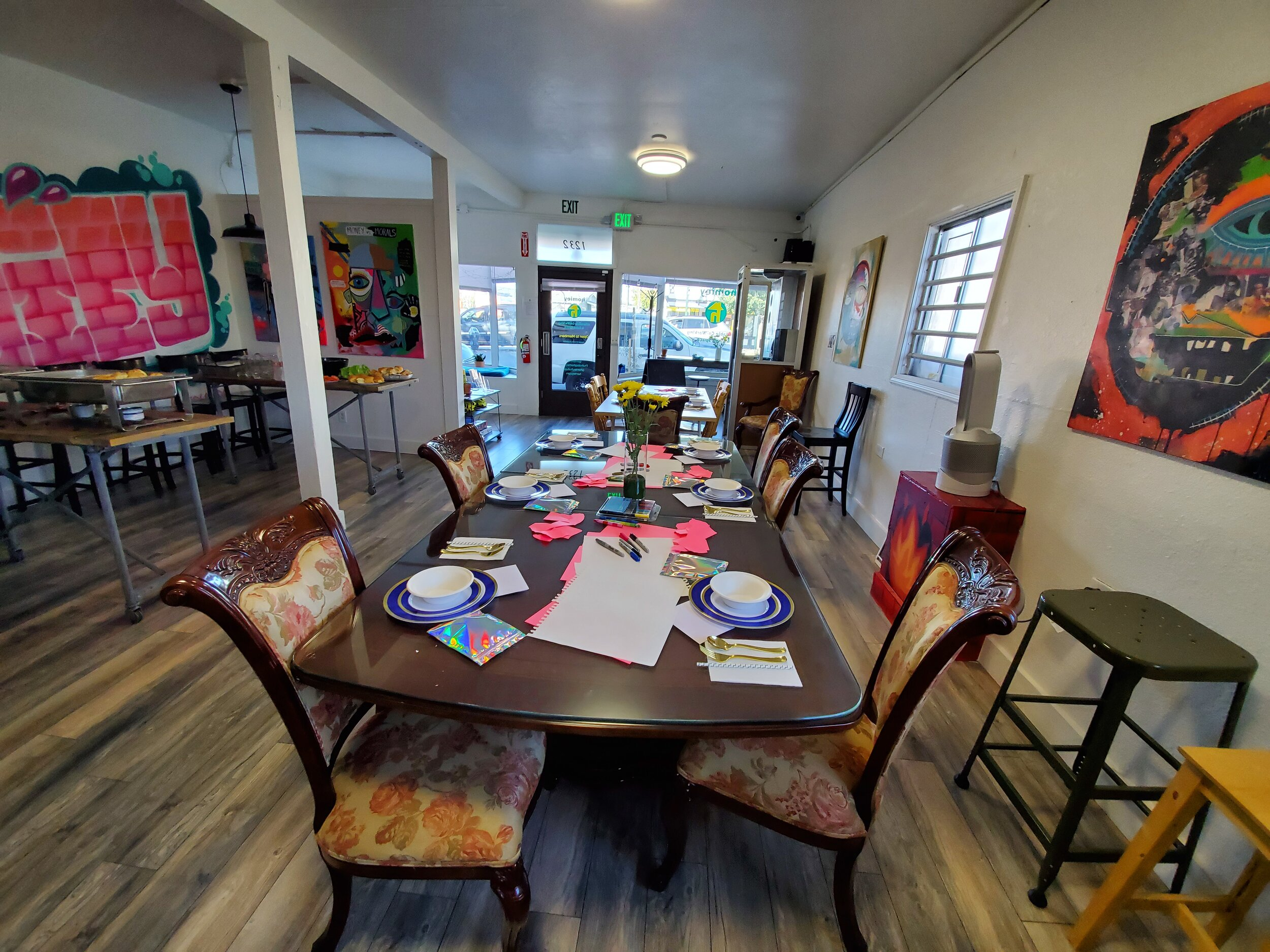 Setup for brunch, rehearsal dinners, tastings, and more.  homiey Fruitvale (Oakland) Event Space