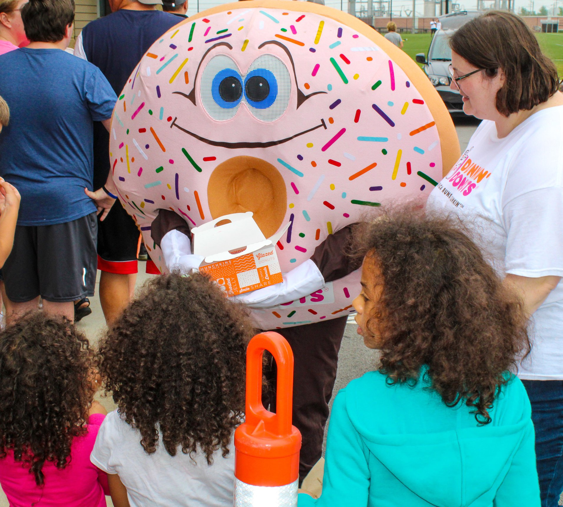 Our Donut Mascot hanging out with the kids at the Knoxville Football camp